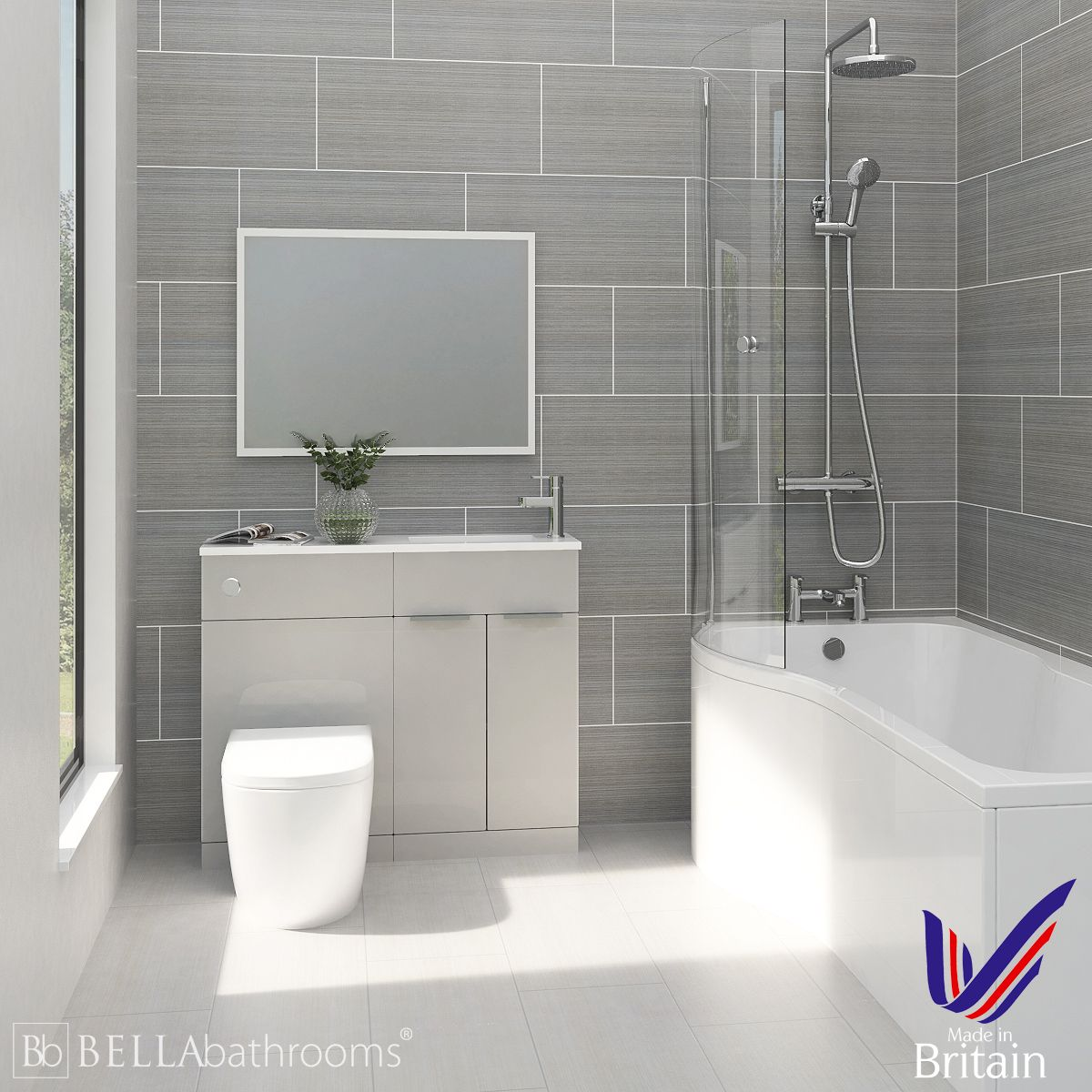 Elation Combination Pearl Grey Matt Furniture Suite with Left Hand P Shape Shower Bath