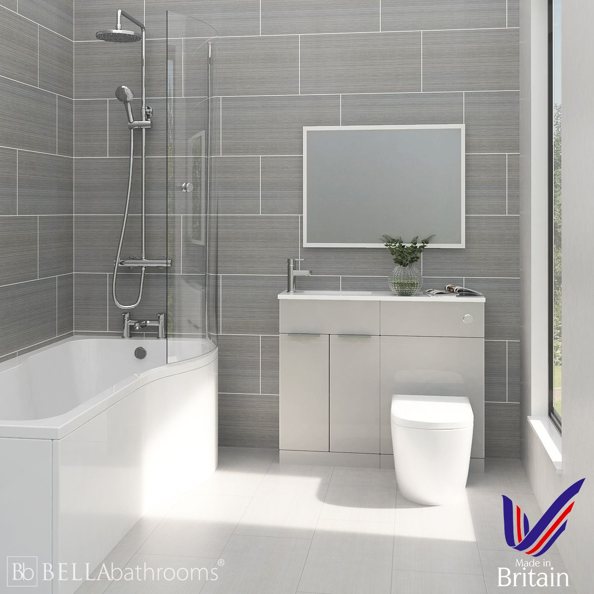Elation Combination Pearl Grey Matt Furniture Suite with Right Hand P Shape Shower Bath