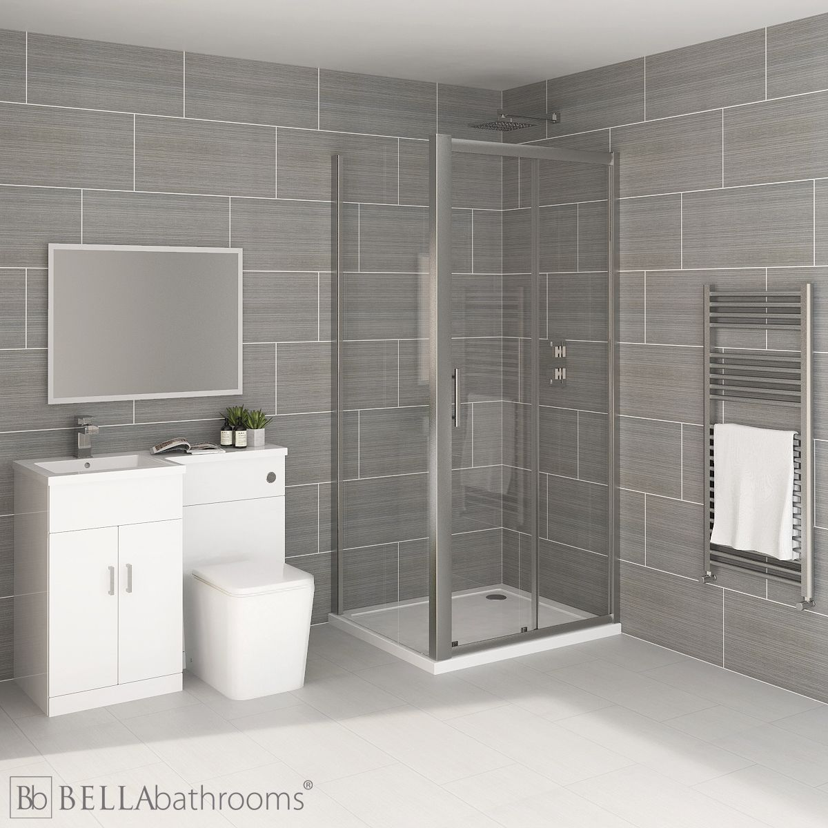 Elation Combination L Shape White Furniture Suite with April Destini Sliding Shower Enclosure