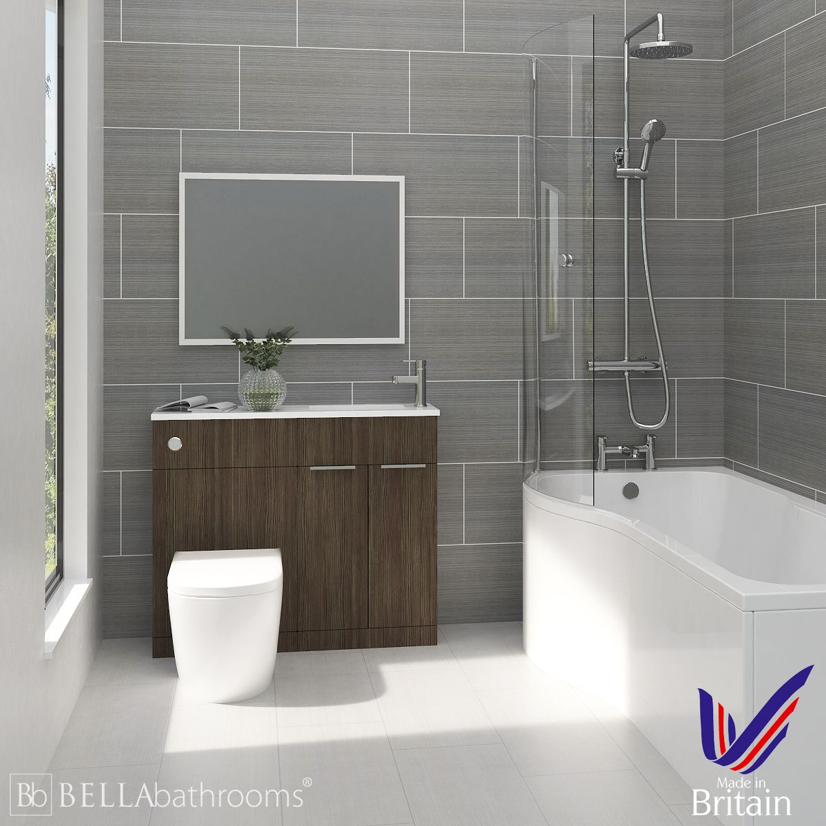 Elation Combination Bodega Grey Furniture Suite with Left Hand P Shape Shower Bath