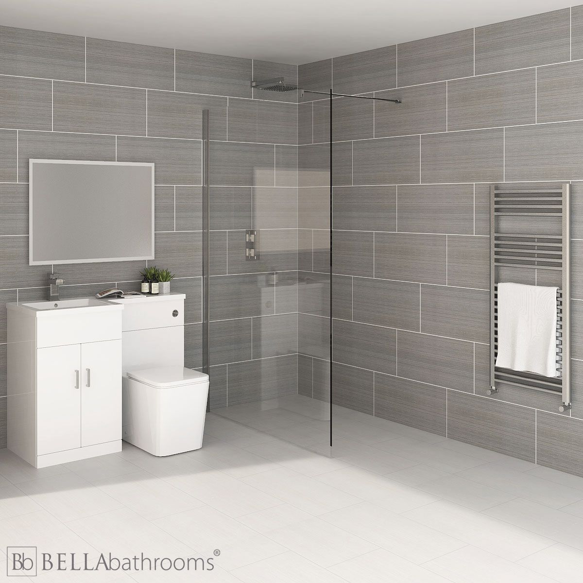 Elation Combination L Shape White Furniture Suite with April Destini Wet Room Shower Enclosure