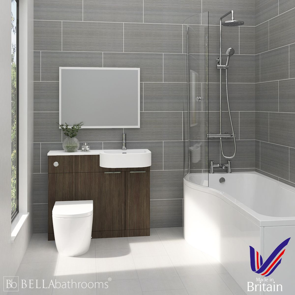 Elation Combination P Shape Bodega Grey Furniture Suite with Left Hand P Shape Shower Bath