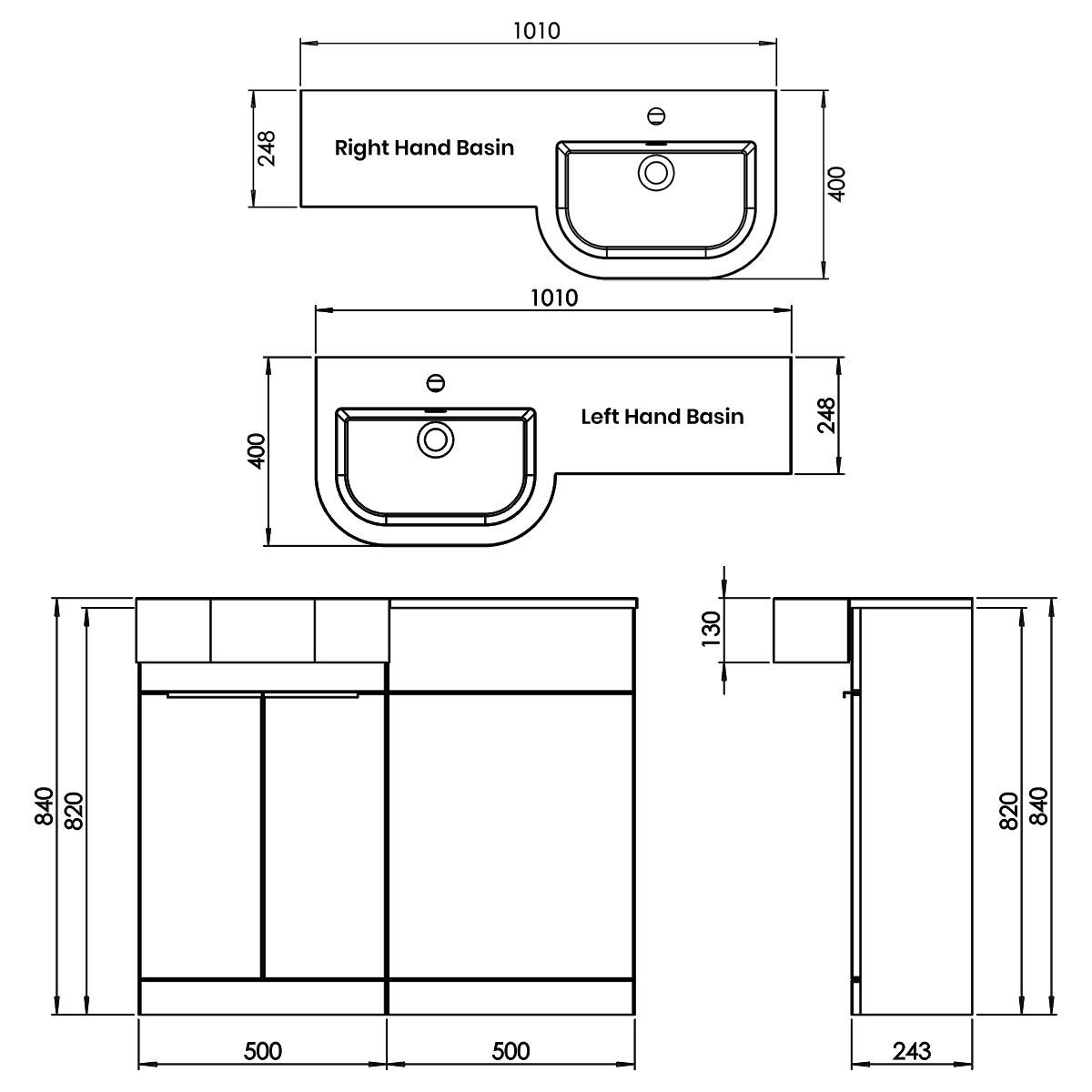 Elation Combination P Shape White Furniture Pack 1010mm Dimensions