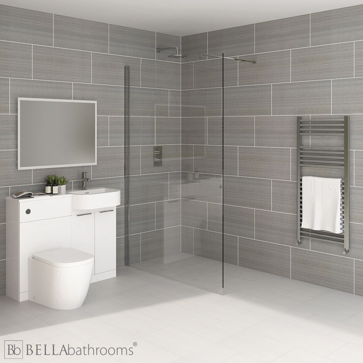 Elation Combination P Shape White Furniture Suite with April Destini Wet Room Shower Enclosure