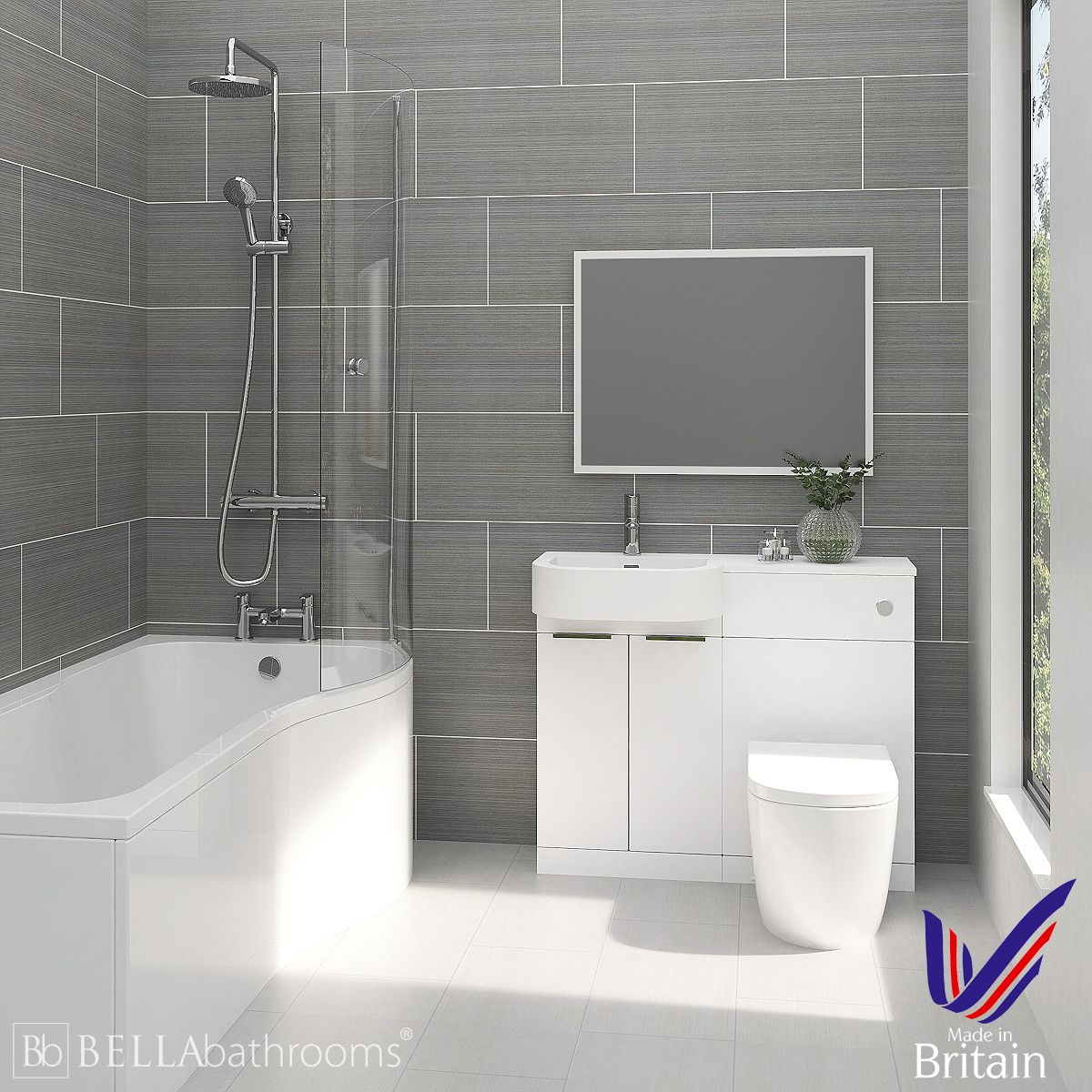 Elation Combination P Shape White Furniture Suite with Right Hand P Shape Shower Bath