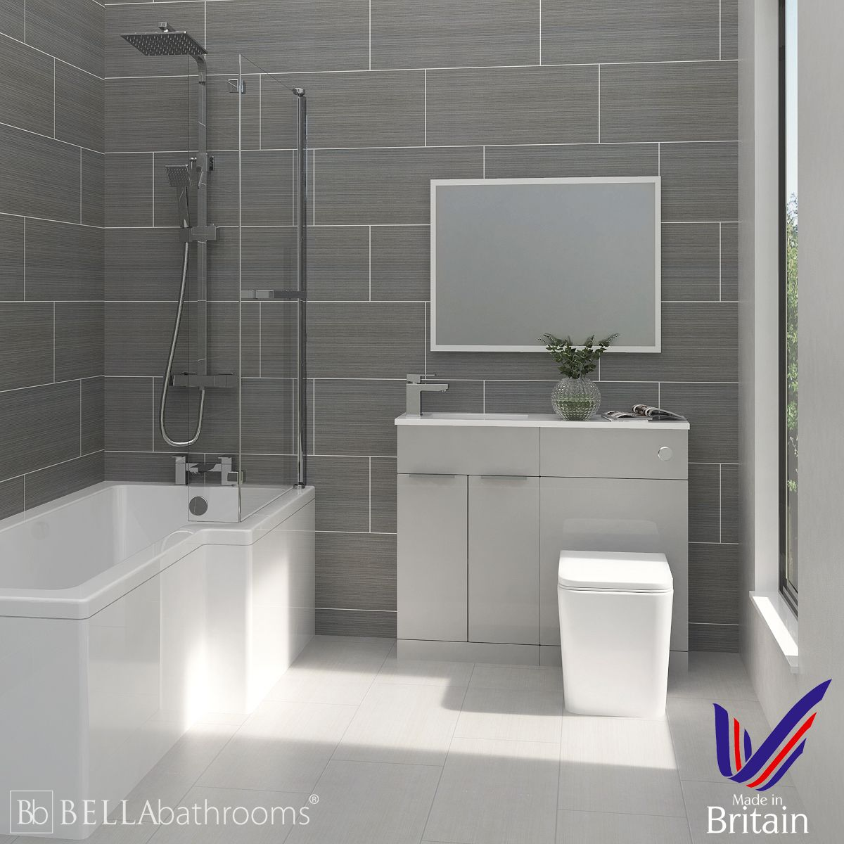 Elation Combination Pearl Grey Matt Furniture Suite with Right Hand L Shape Shower Bath