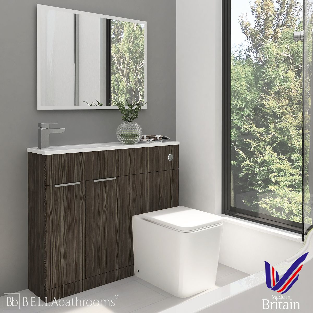 Elation Combination Straight Bodega Grey Furniture Pack 1000mm Left Hand with Brearton Toilet