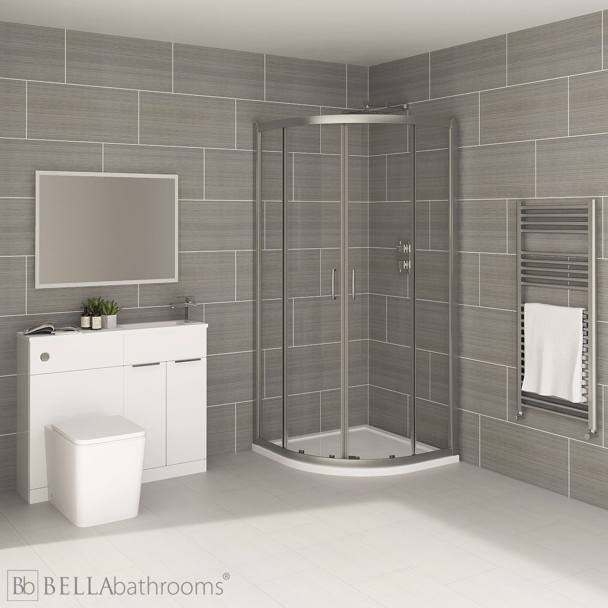 Elation Combination White Furniture Suite with April Destini Quadrant Shower Enclosure with Brearton Toilet