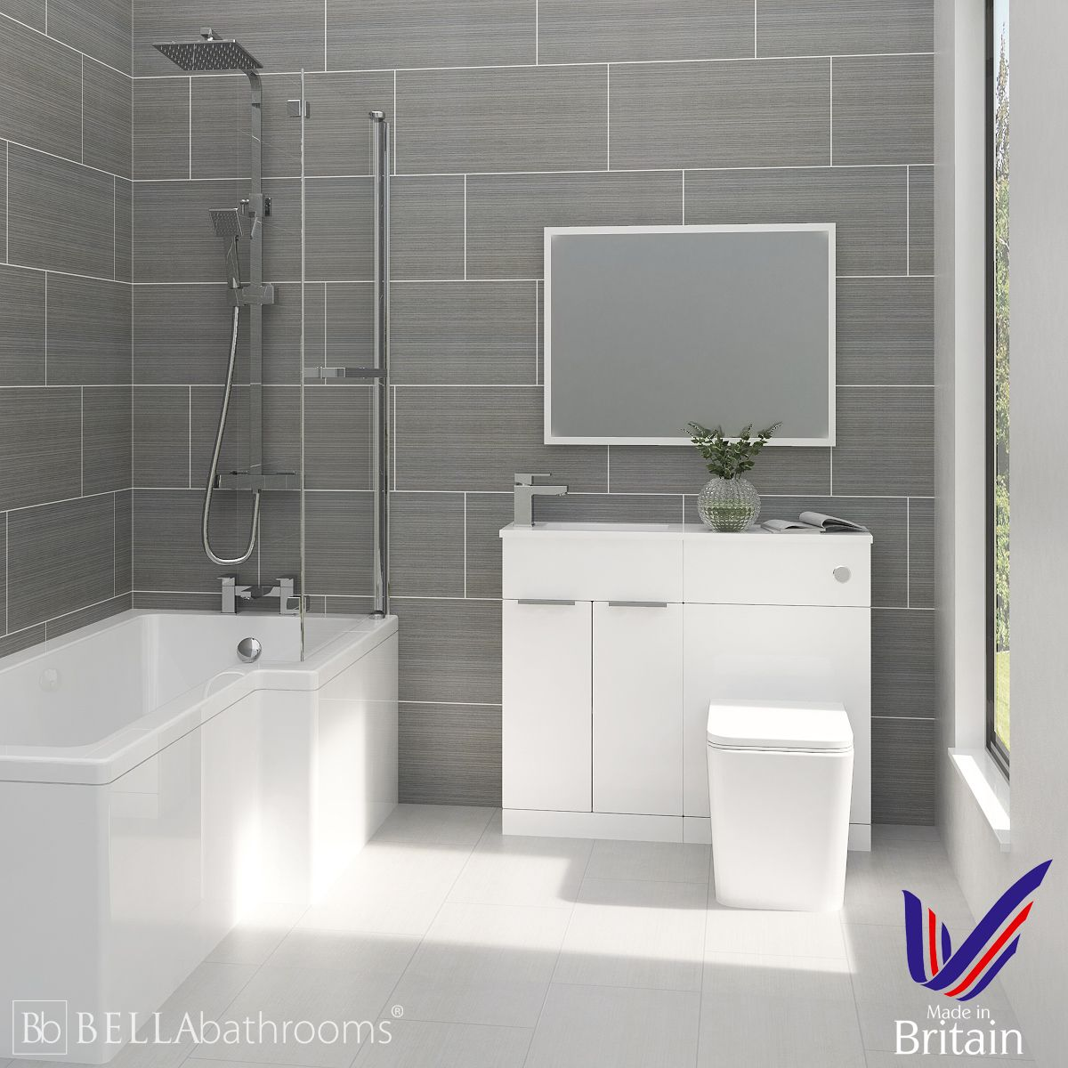 Elation Combination White Furniture Suite with Right Hand L Shape Shower Bath