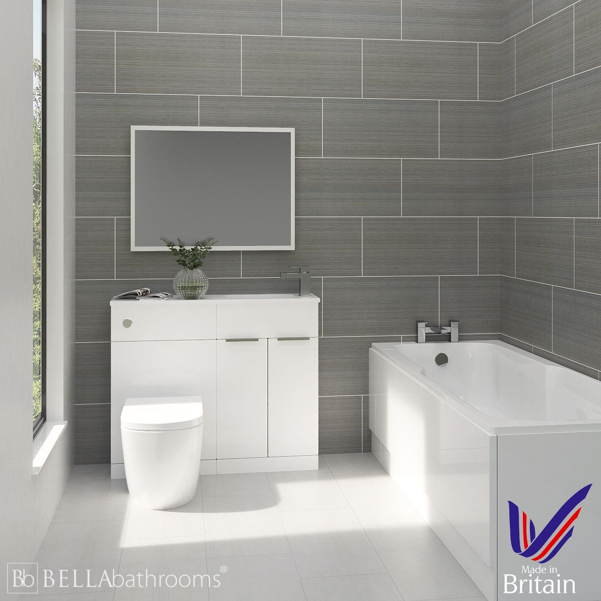 Elation Combination White Furniture Suite with Nuie Linton Straight Bath