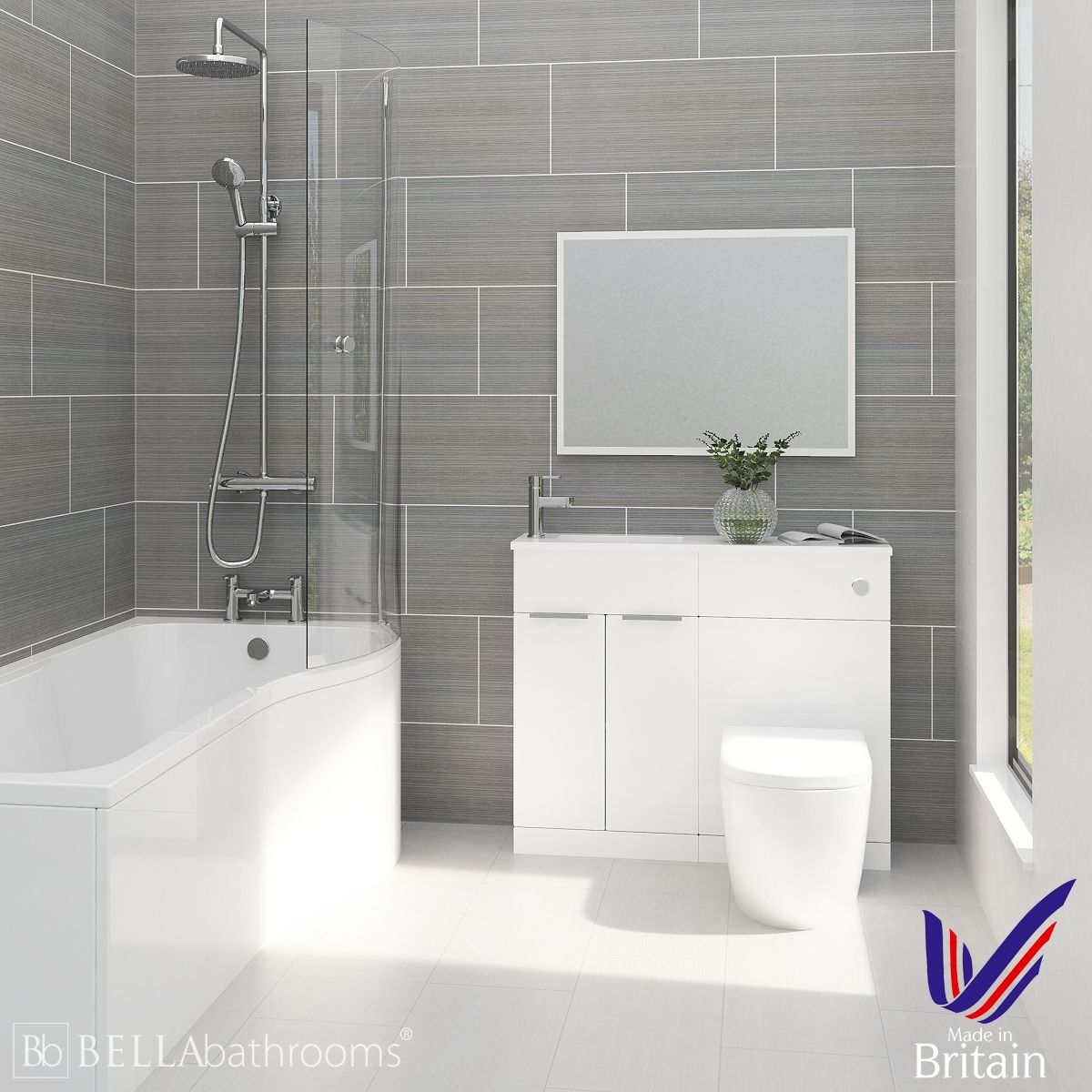 Elation Combination White Furniture Suite with Right Hand P Shape Shower Bath