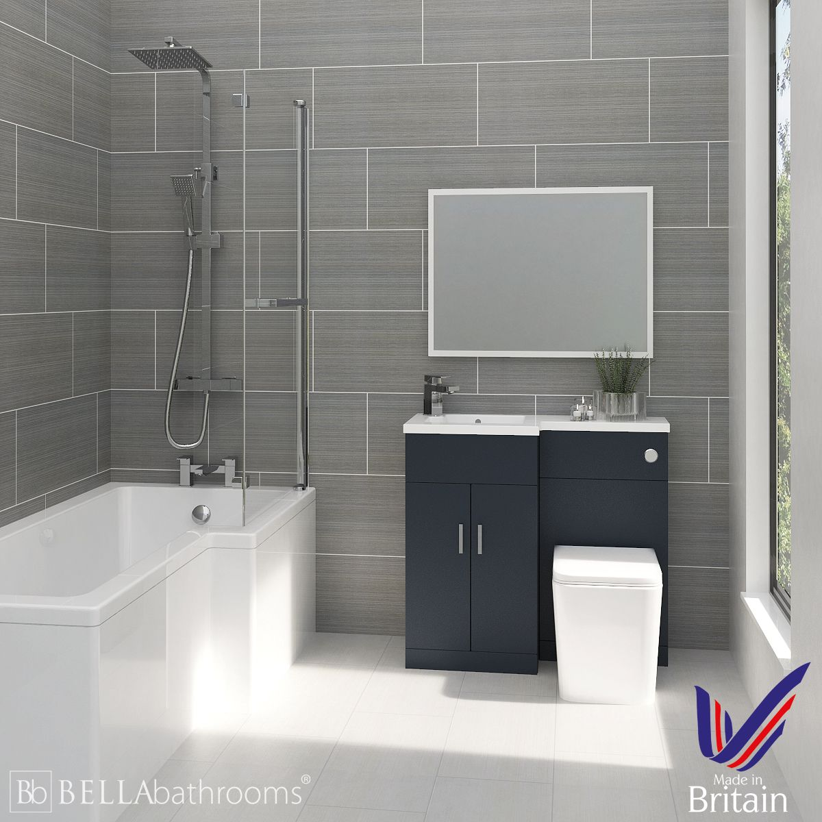 Elation Compact Combination L Shape Indigo Matt Furniture Suite with Right Hand L Shape Shower Bath