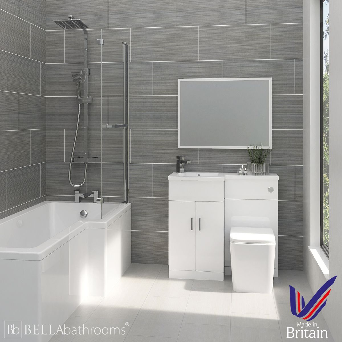 Elation Compact Combination L Shape White Furniture Suite with Right Hand L Shape Shower Bath