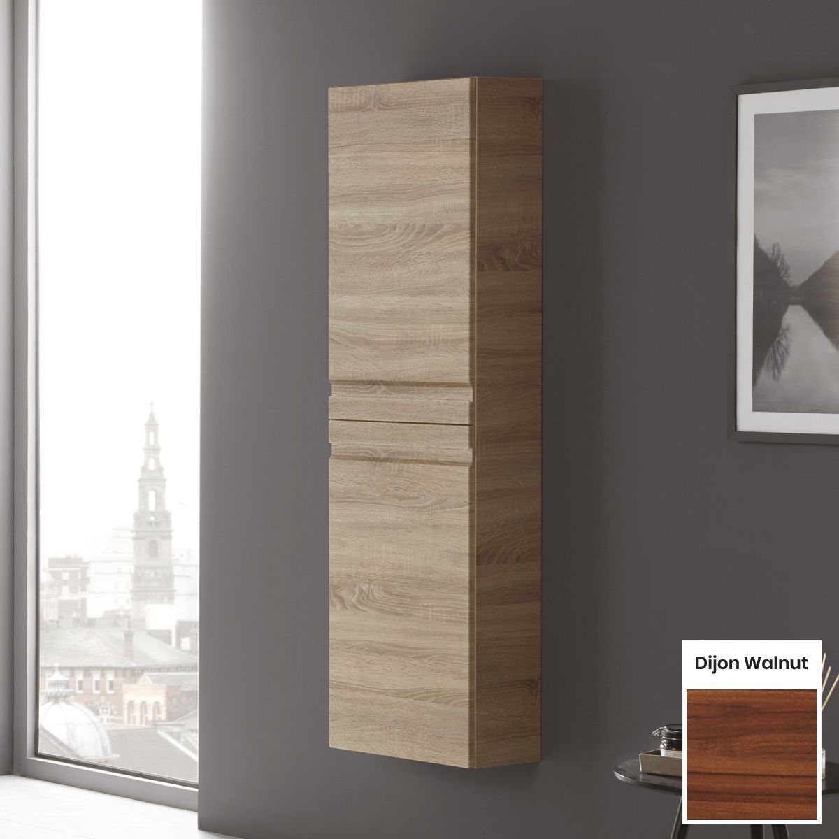 Elation Eko Dijon Walnut Tall Unit with Slab Door 1500mm
