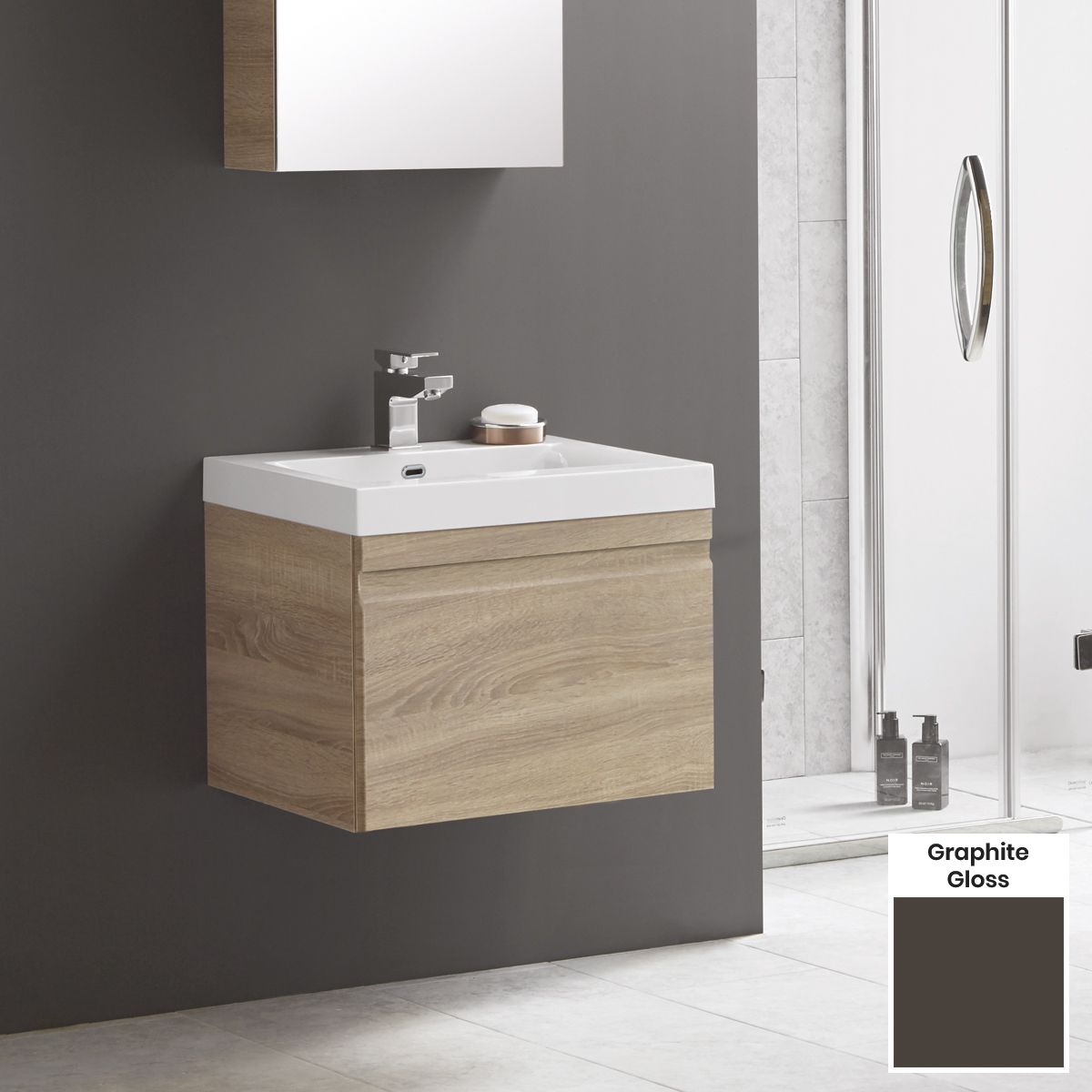 Elation Eko Graphite Gloss Vanity Unit with Slab Door 550mm