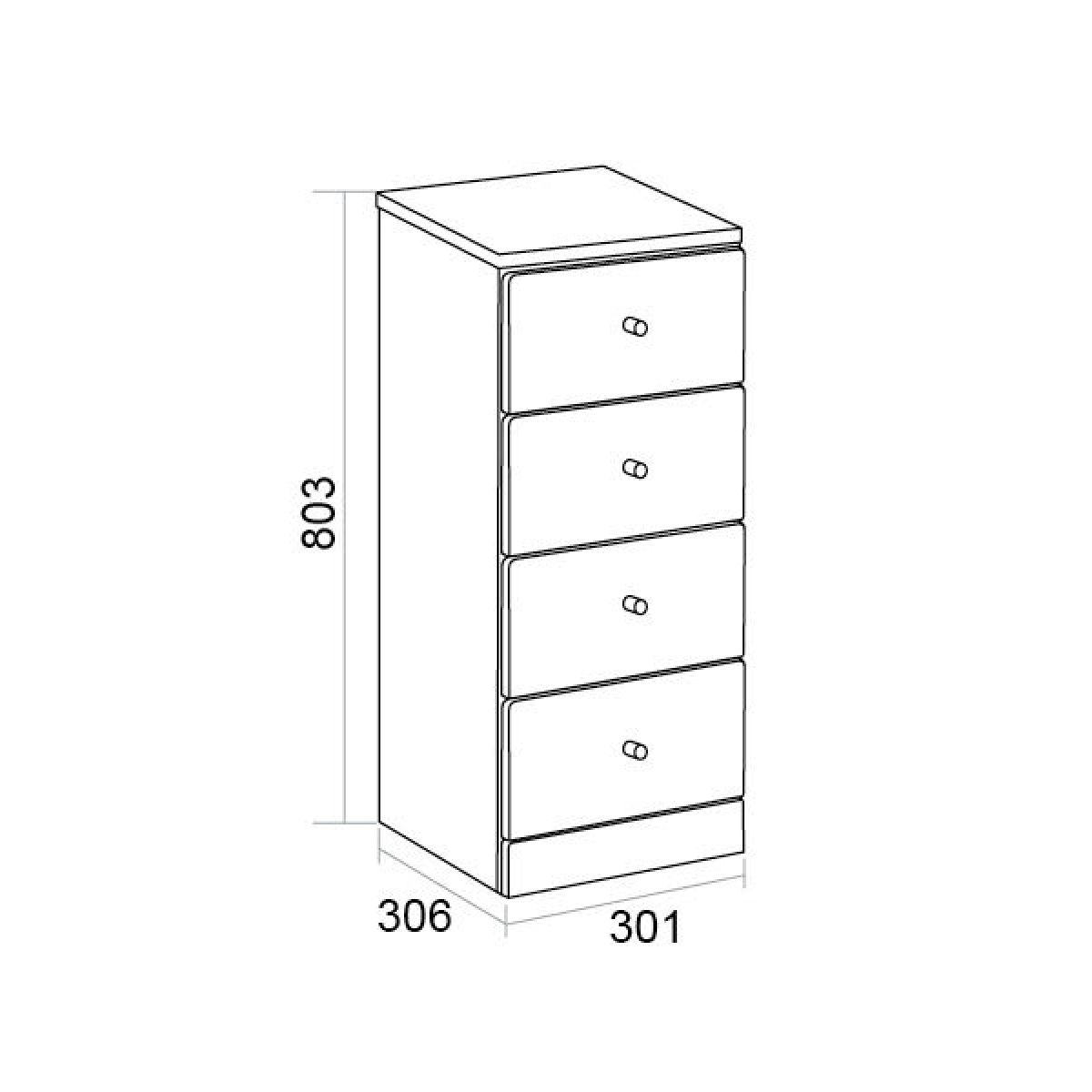 Ikoma White Gloss 4 Drawer Unit Dimensions