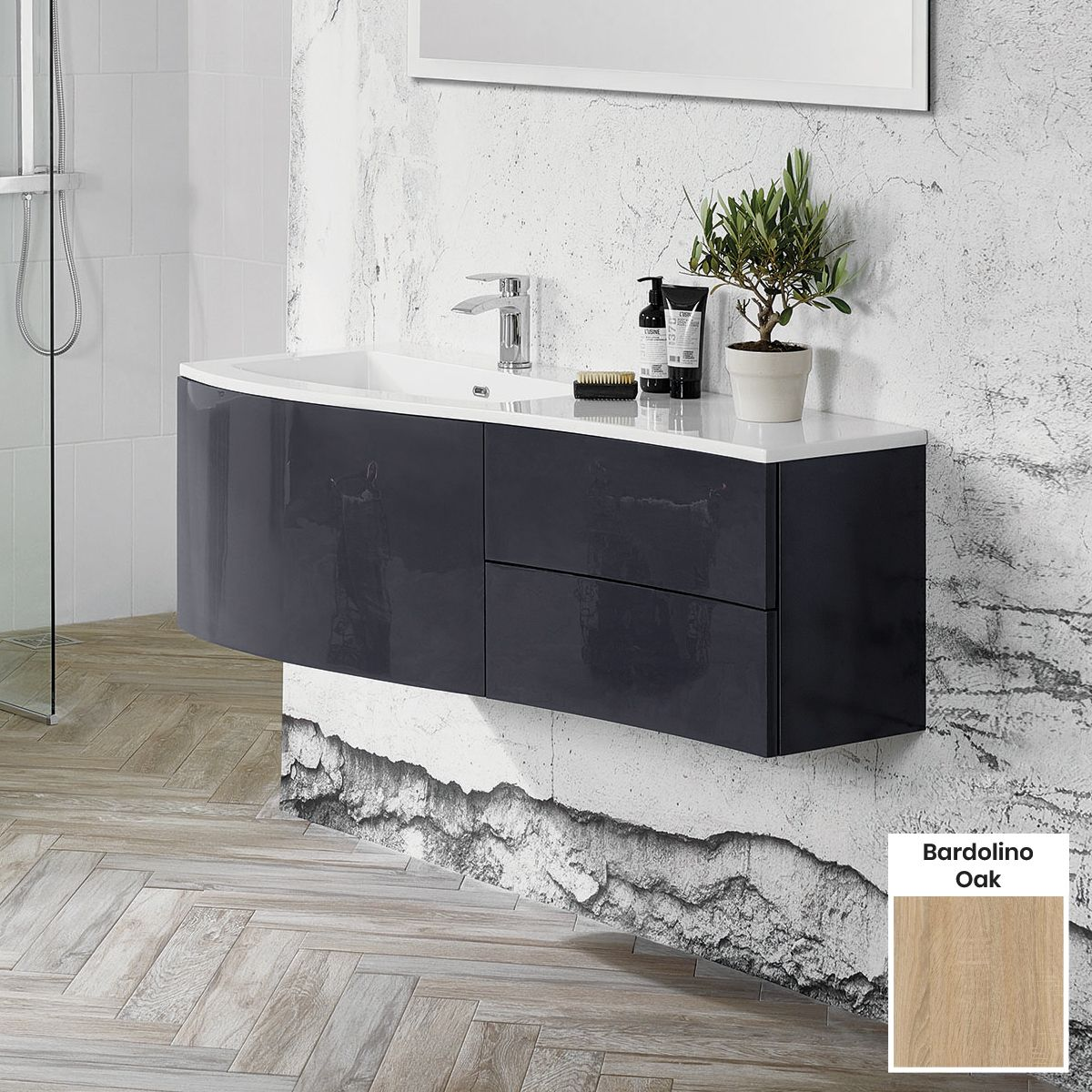 Elation Kiyo Bardolino Oak Vanity Unit 1200mm Left Handed