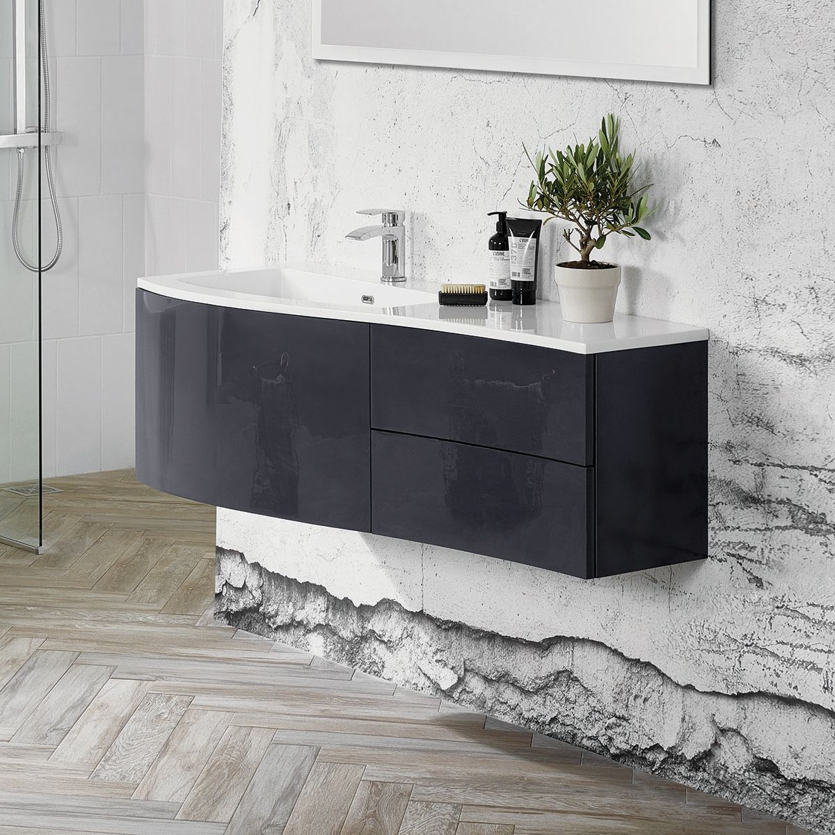 Elation Kiyo Graphite Gloss Vanity Unit 1200mm Left Handed
