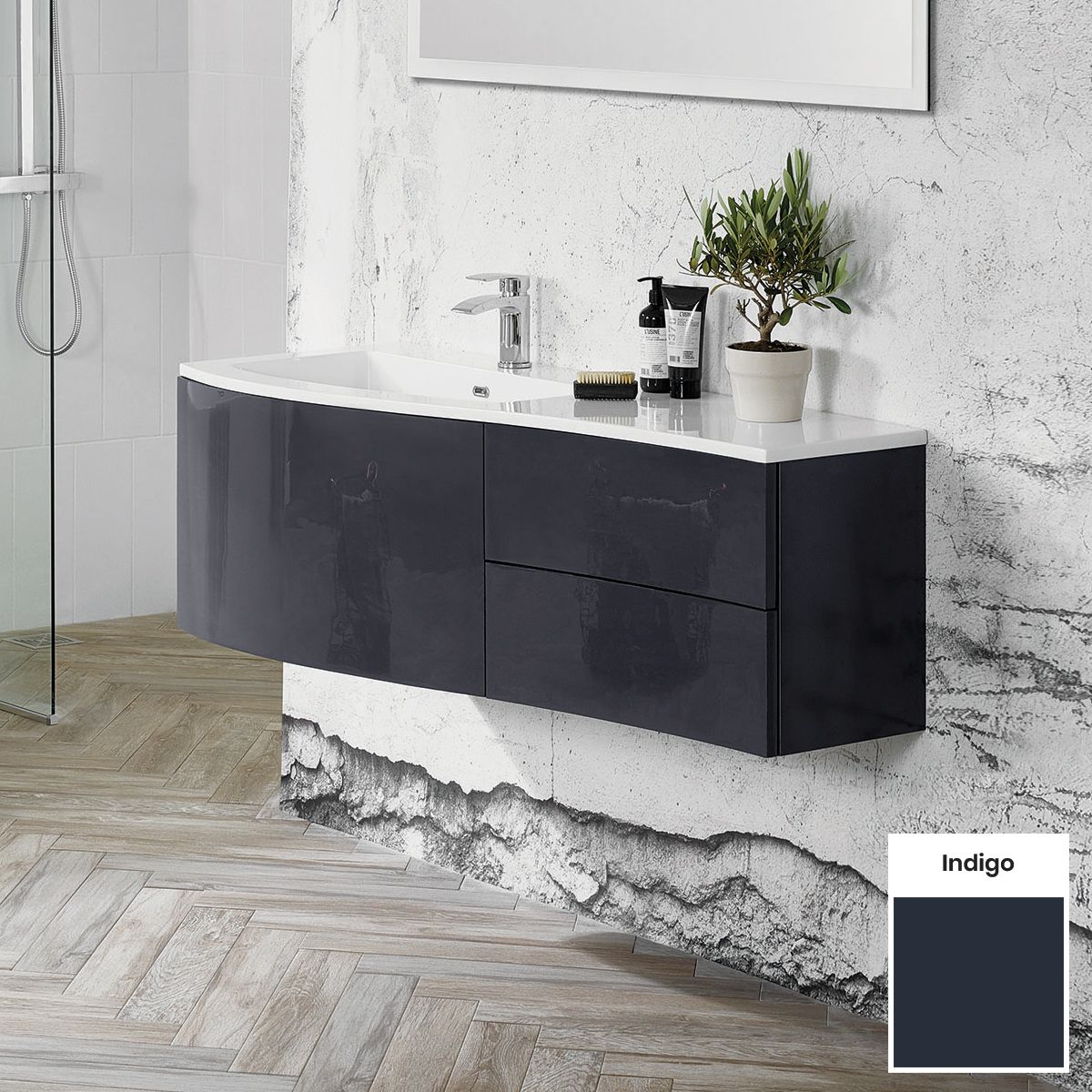 Elation Kiyo Indigo Vanity Unit 1200mm Left Handed