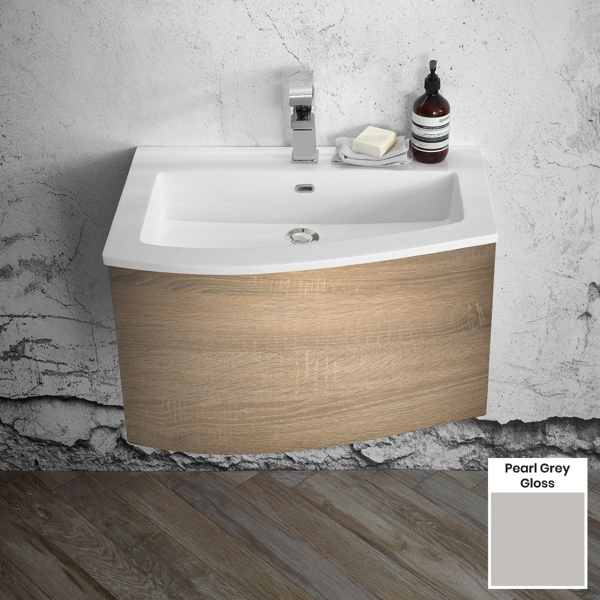 Elation Kiyo Pearl Grey Gloss Vanity Unit 700mm Left Handed