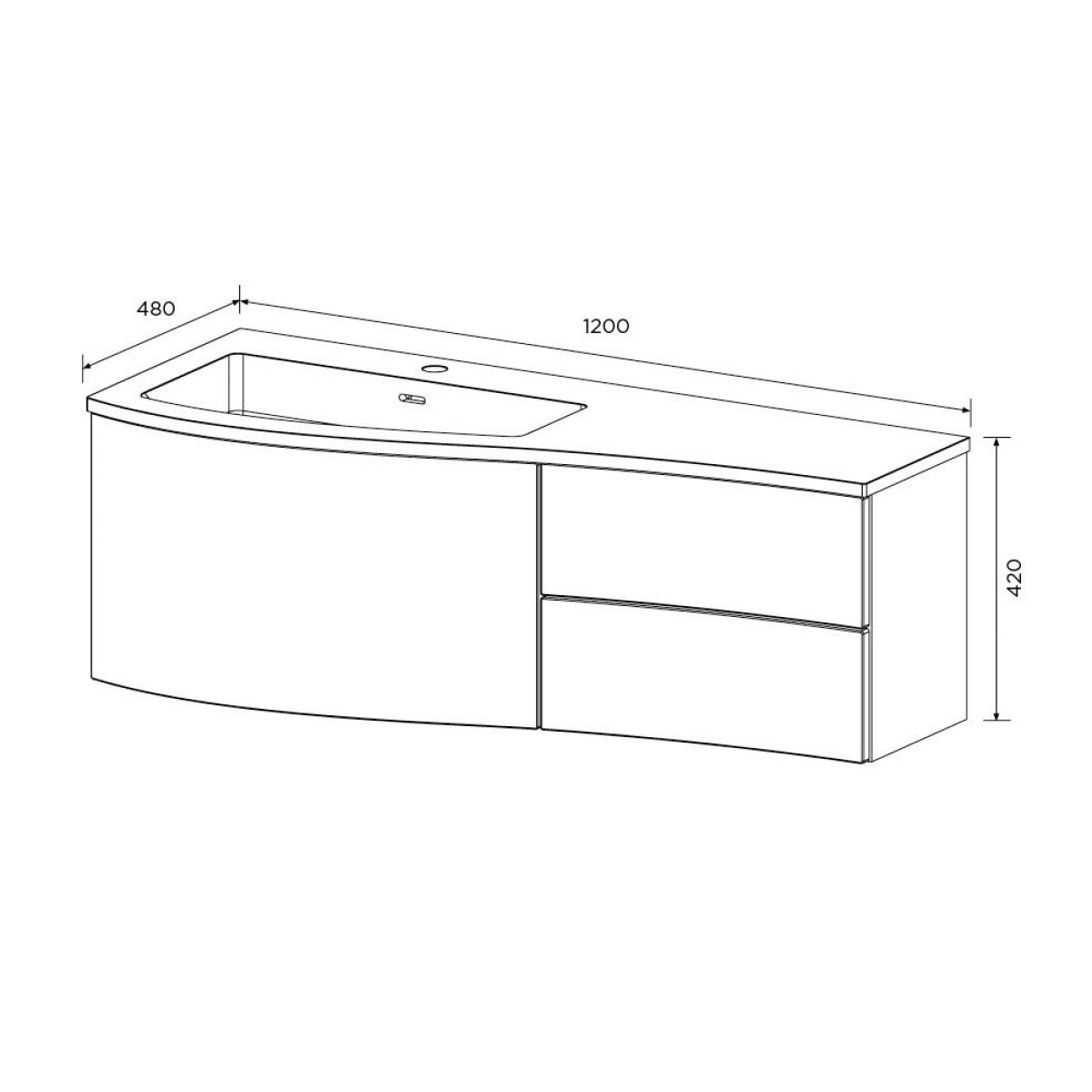 Elation Kiyo Indigo Vanity Unit 1200mm Left Handed Dimensions