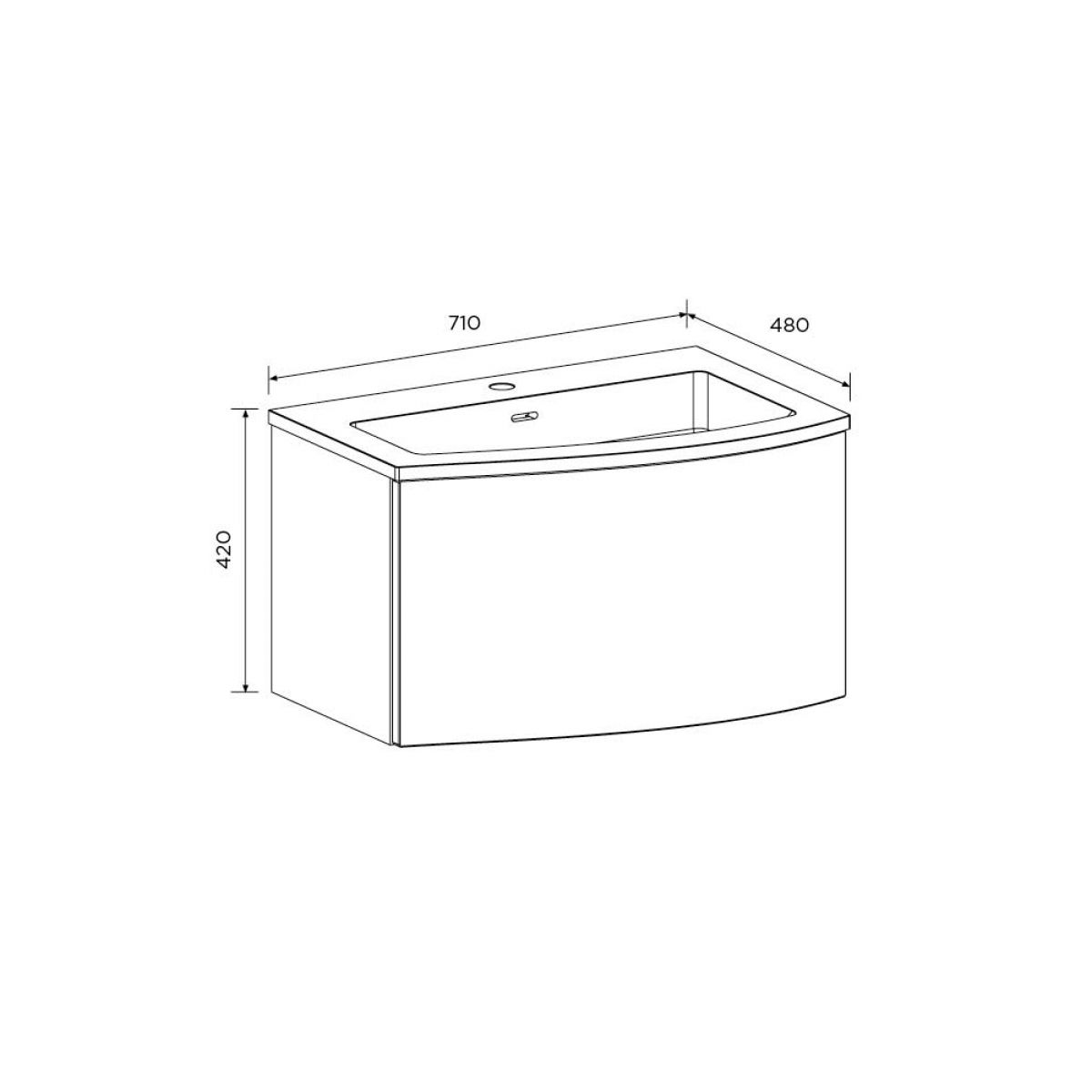 Elation Kiyo Graphite Gloss Vanity Unit 700mm Right Handed Dimensions