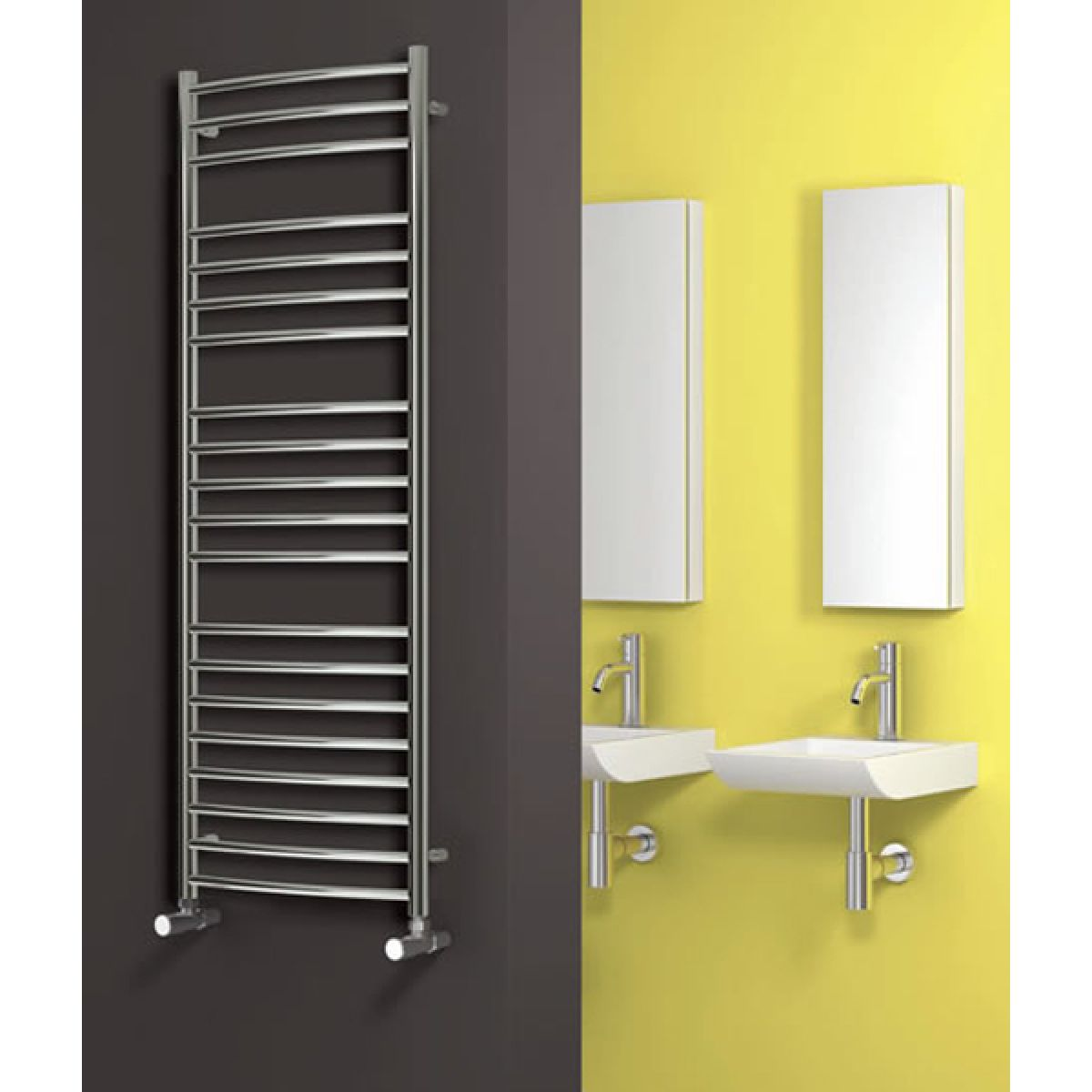 Reina Eos Polished Stainless Steel Curved Electric Towel rail 430 x 500mm