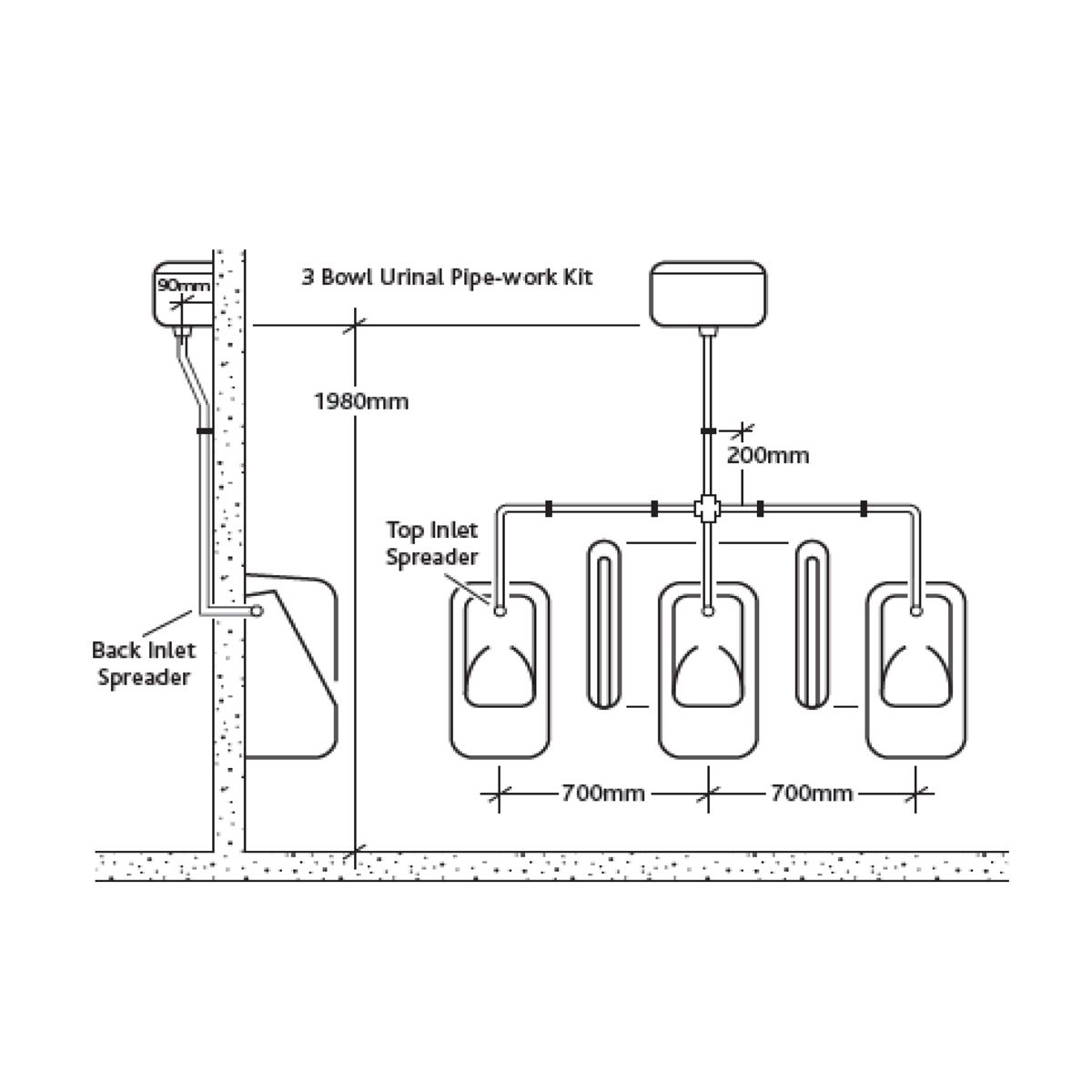 RAK Exposed Automatic Urinal Cistern 13.5L Measurements