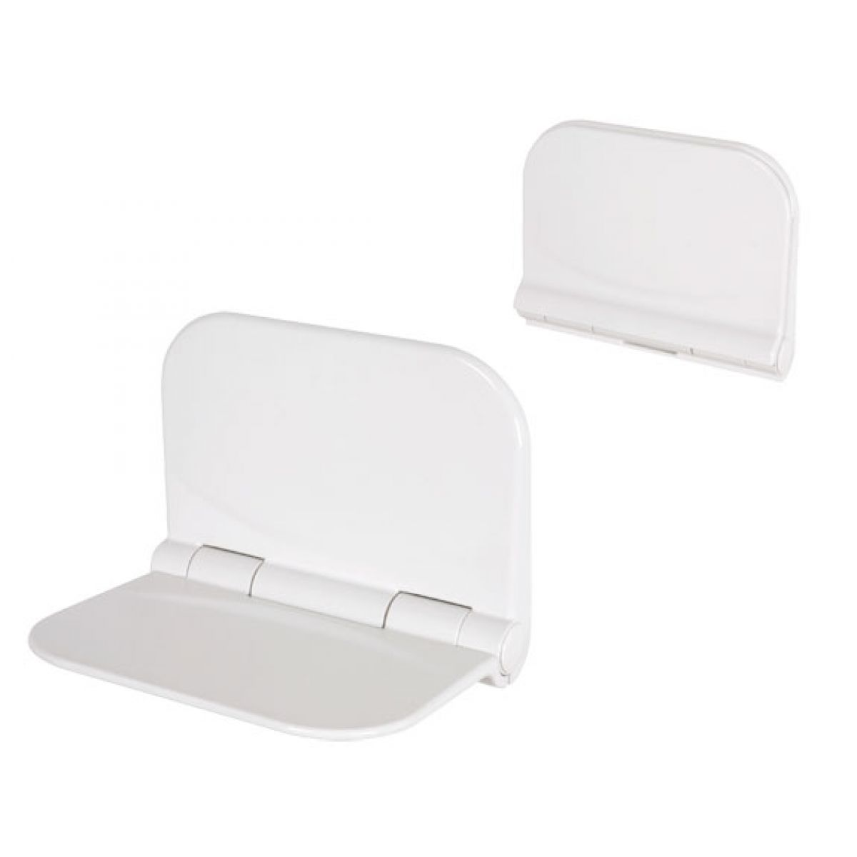 Folding Shower Seat. Open and closed positions shown.