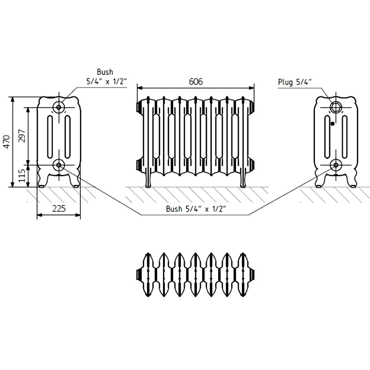 Front Line Holborn Oxford Cast Iron Radiator 606 x 470mm Line Drawing