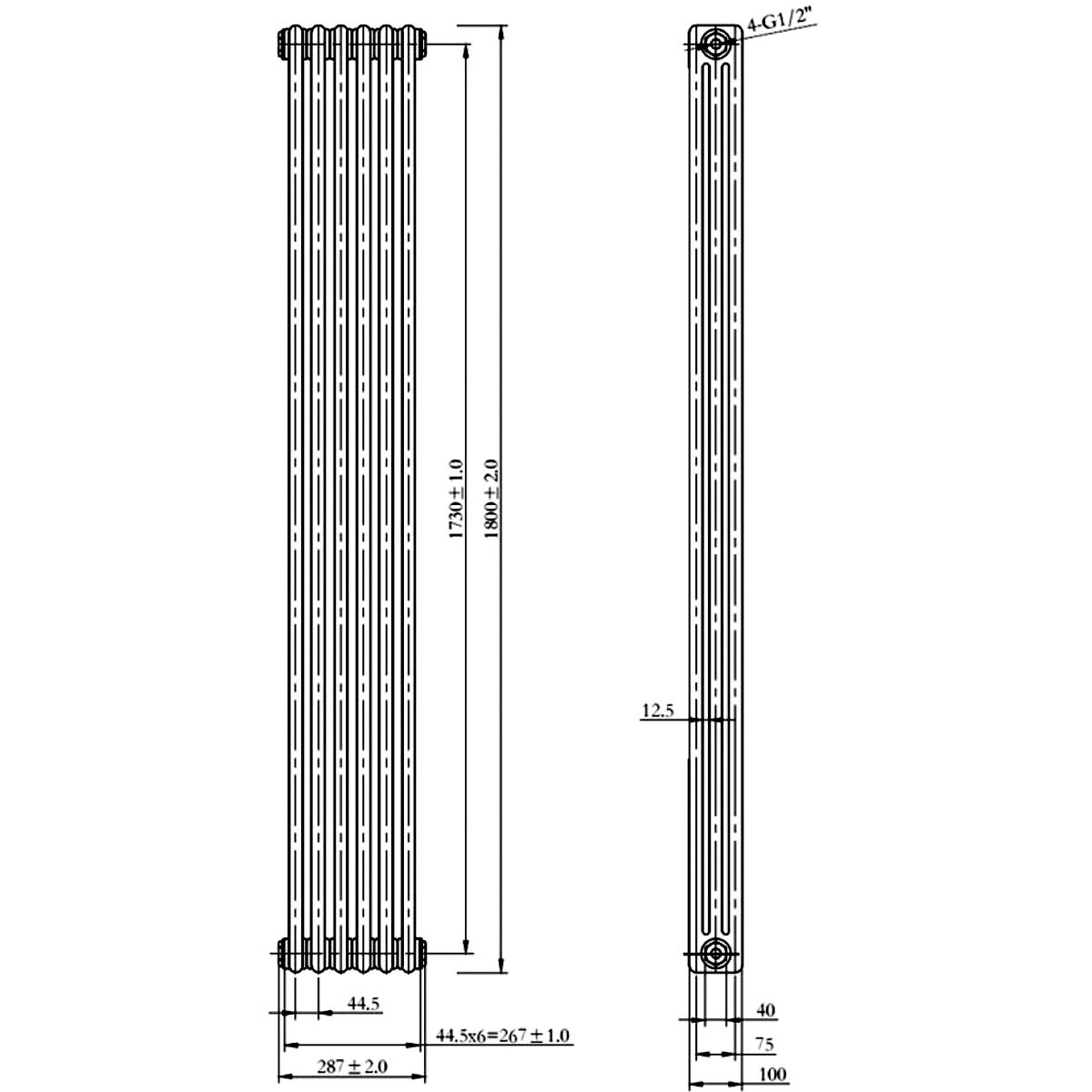 Front Line Rome Double-Panelled Vertical Radiator 1800 x 287mm Line Drawing