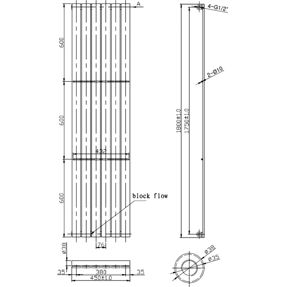 Front Line Zenith Anthracite Vertical Radiator 1800mm x 450mm Line Drawing
