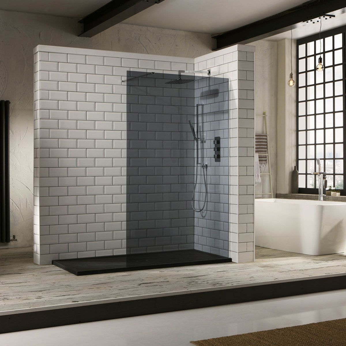 Frontline Aquaglass Mono Smoked Wet Room Shower Enclosure