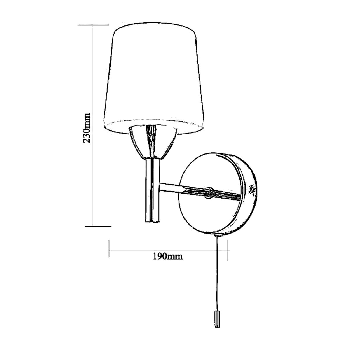 Frontline Chrome Aqua Wall Light with Pull Chord 100mm Line Drawing