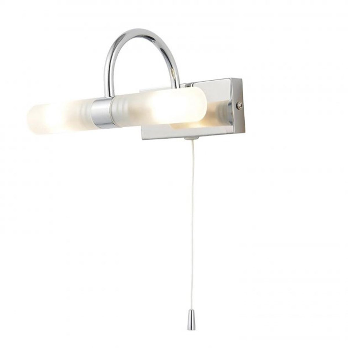 Frontline Chrome Curve Wall Light with Pull Cord 205mm