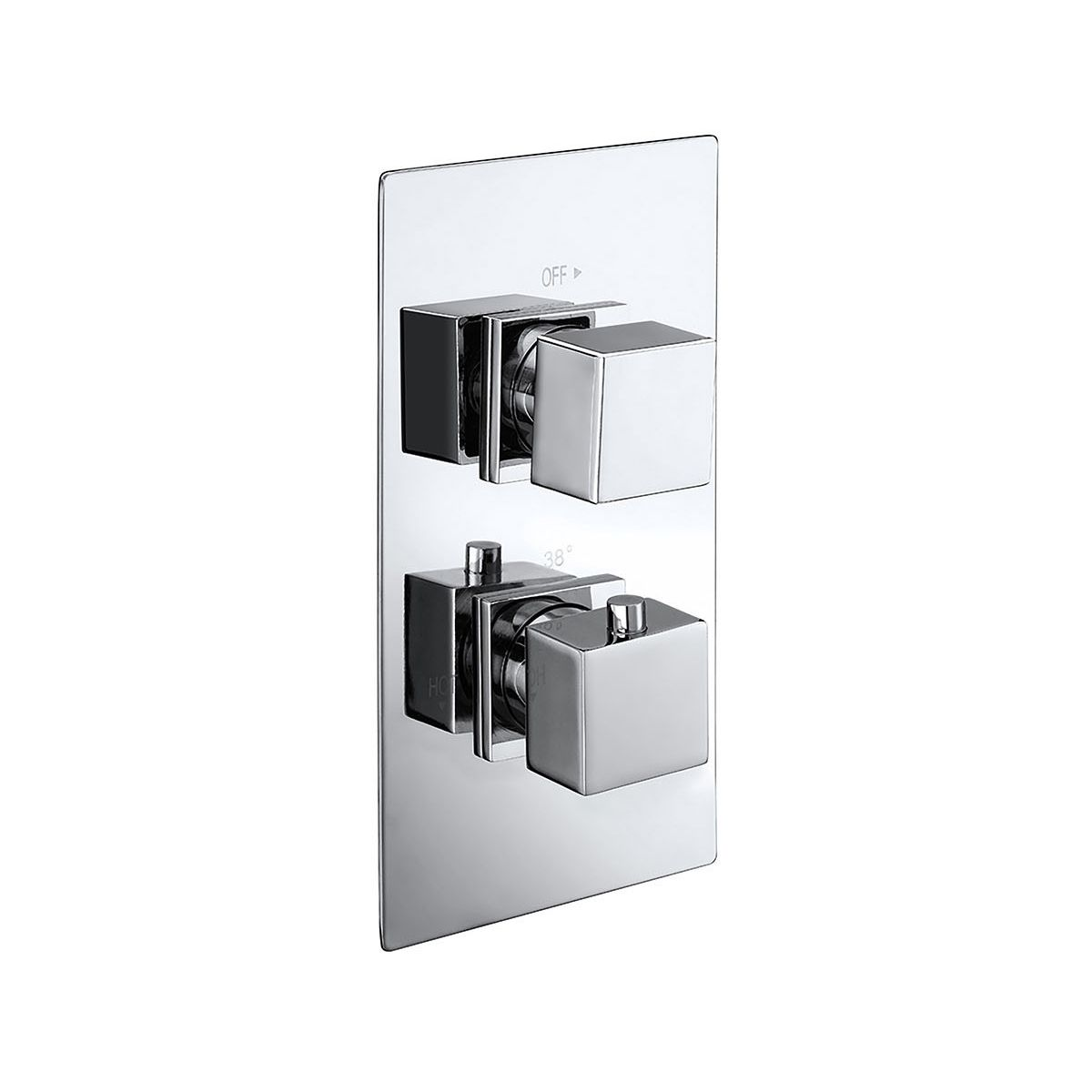 Frontline Cube Twin Concealed Thermostatic Shower Valve with Diverter