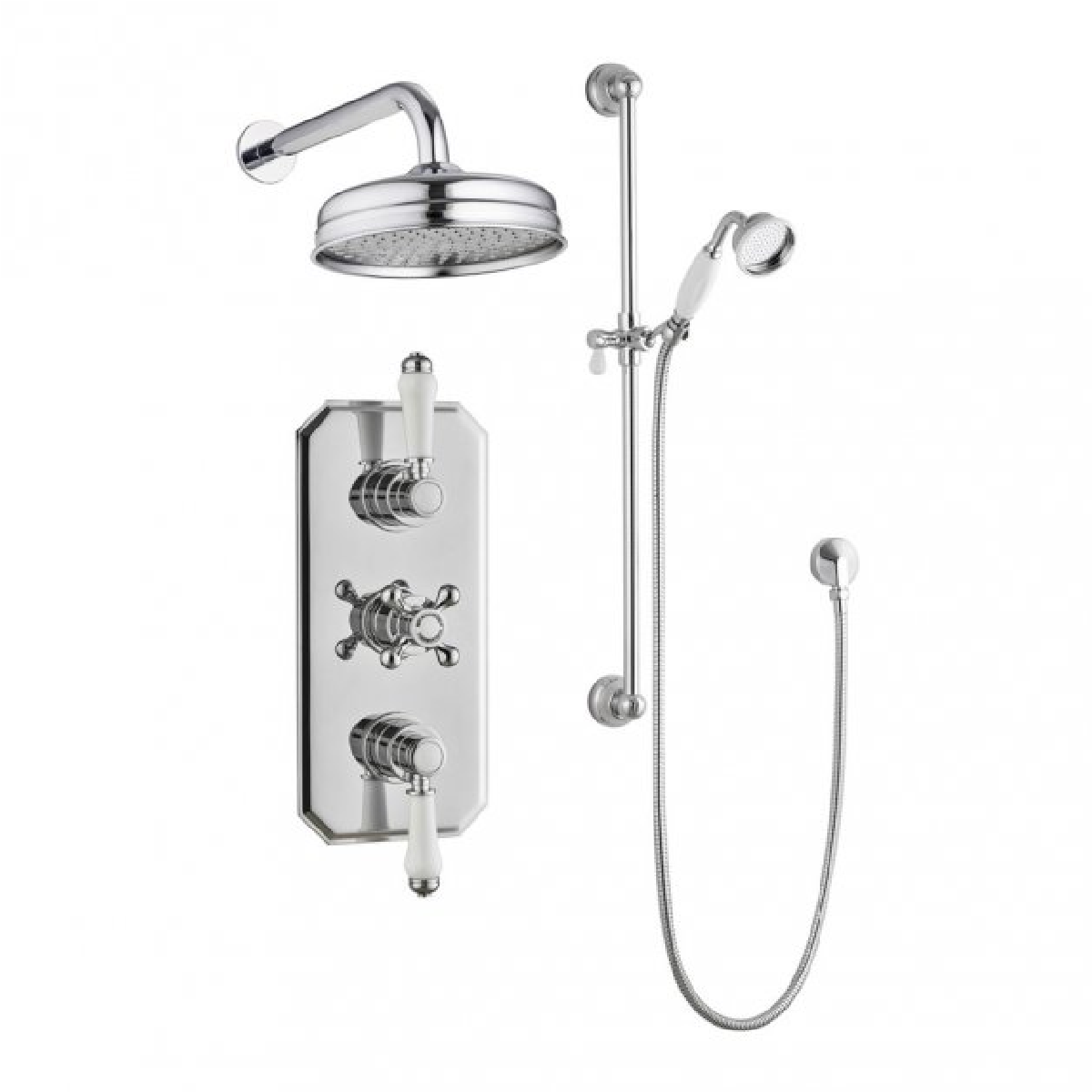 Frontline Holborn Chrome Twin Concealed Thermostatic Shower Valve With Diverter