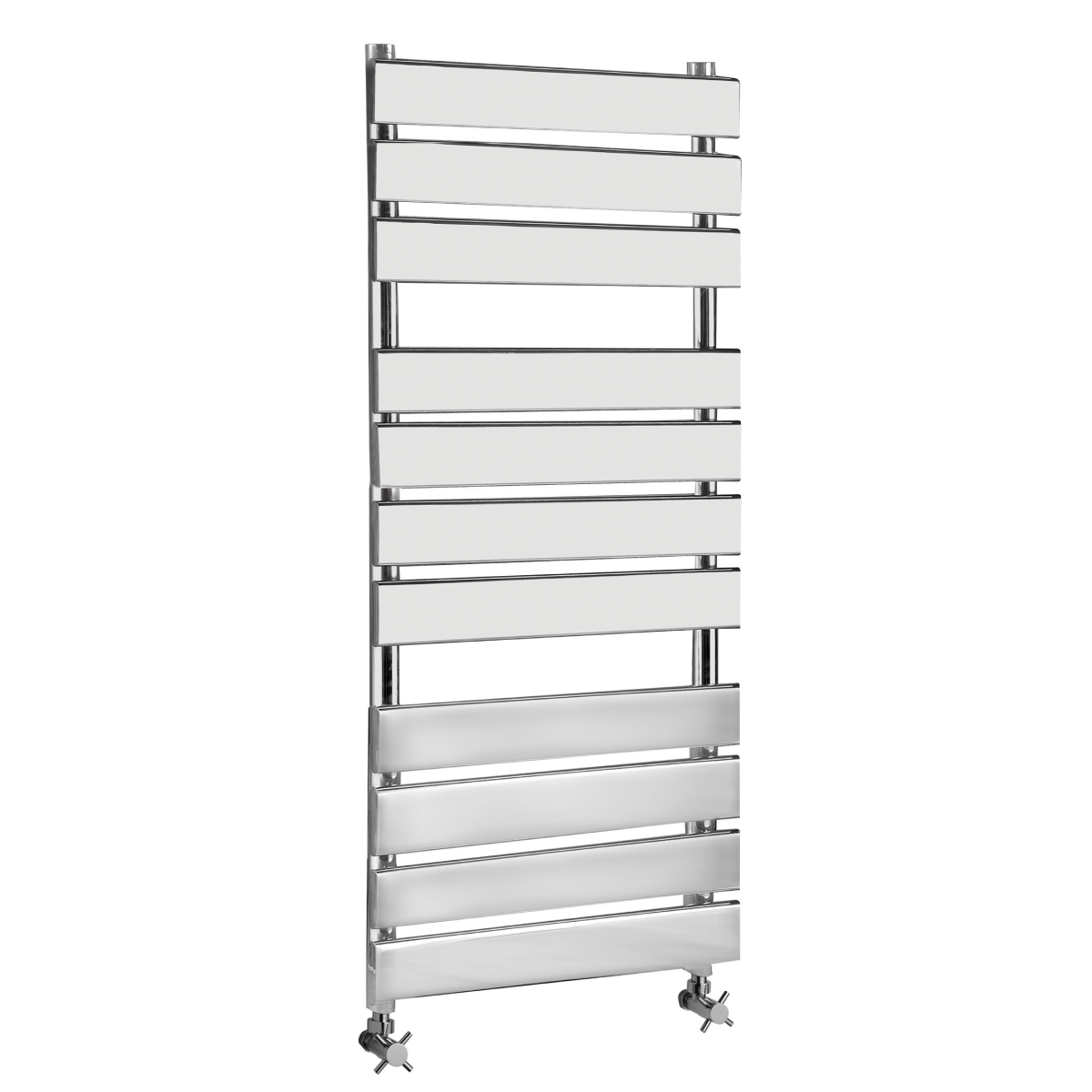 Frontline Piazza Chrome Heated Towel Rail With Flat Towel Bars & 2 Hanging Areas W500 H745
