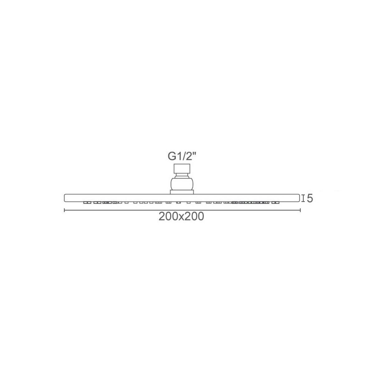 Frontline Square Shower Head 200mm Dimensions