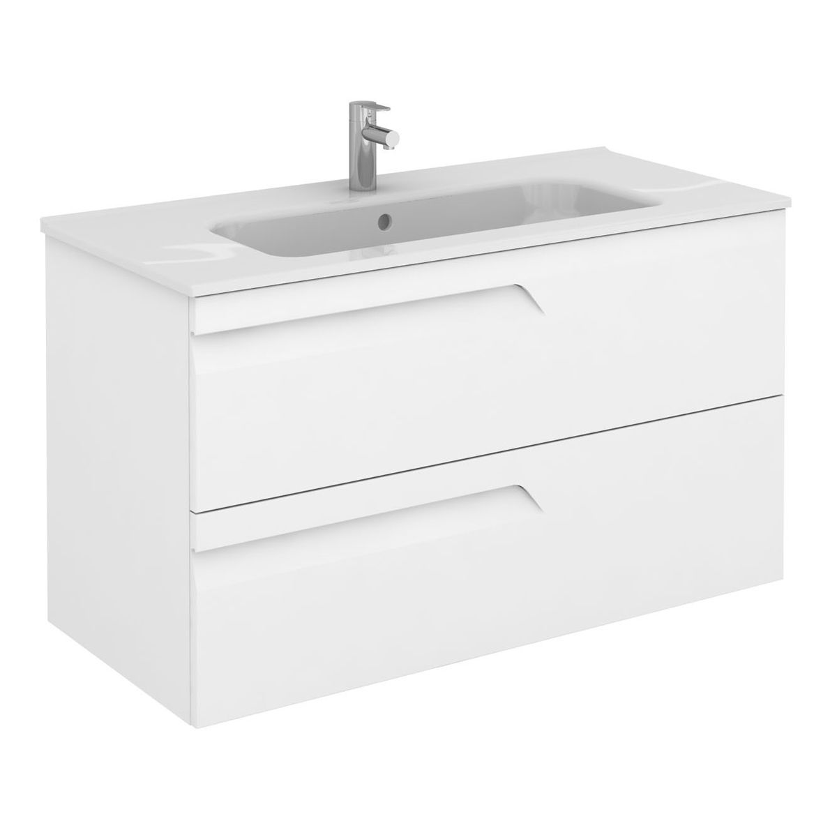 Frontline Vitale Gloss White Wall Mounted Vanity Unit 1000mm