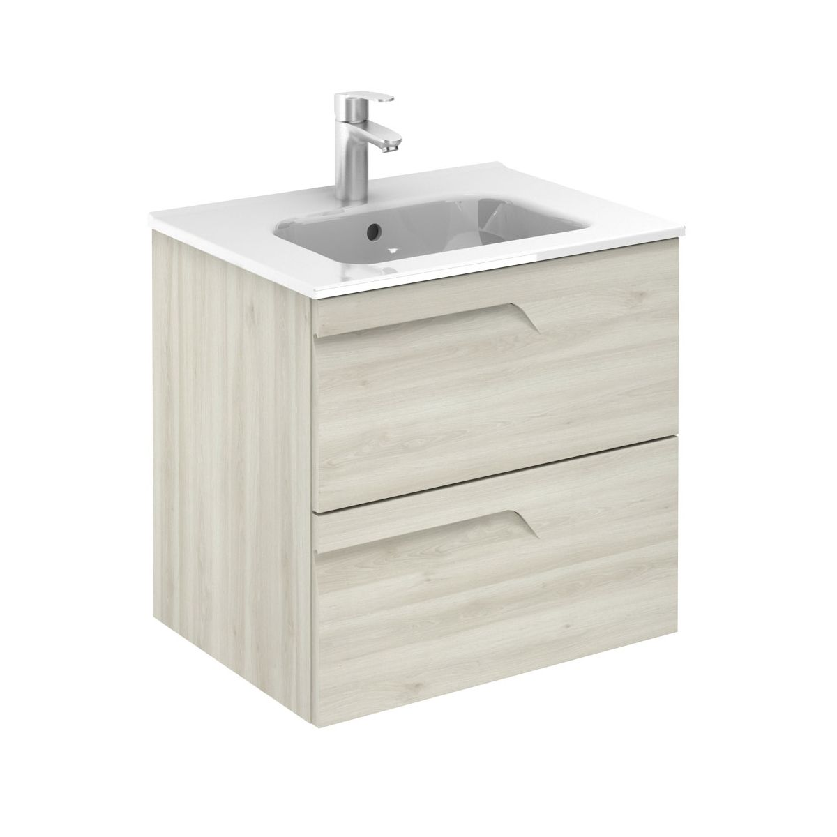 Frontline Vitale Light Oak Slimline Wall Mounted Vanity Unit 600mm