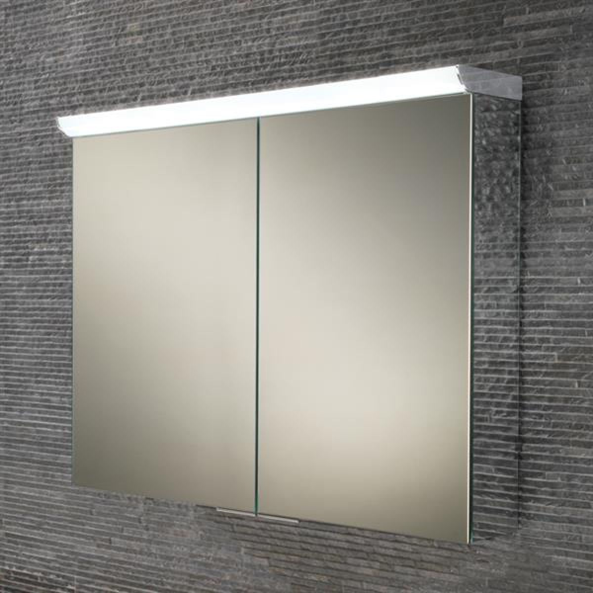 HiB Ember 80 LED Double Door Mirrored Cabinet