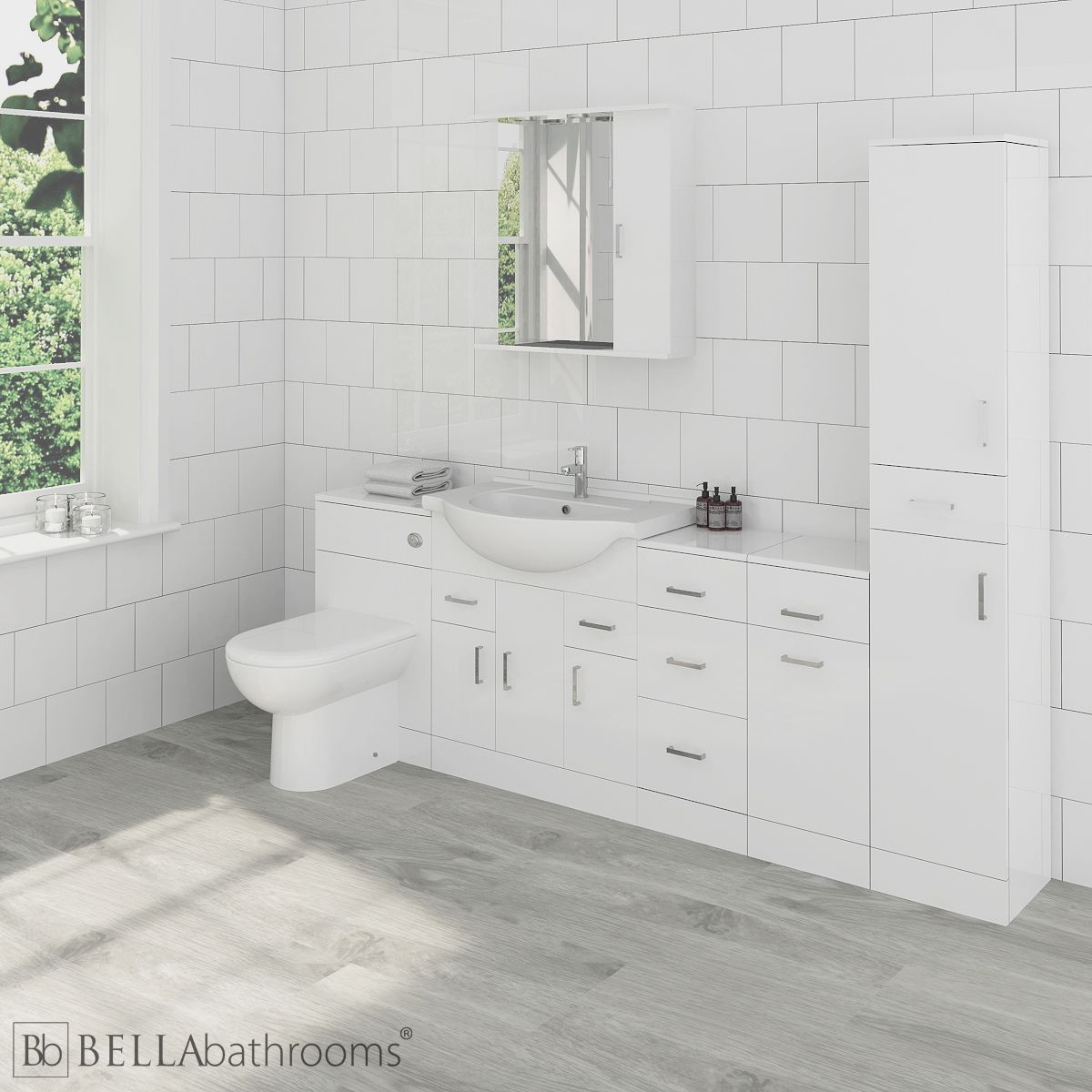 Nuie High Gloss White Bathroom Furniture Pack 2270mm