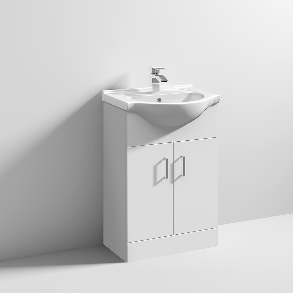 Nuie High Gloss White Vanity Unit with Standard Basin 550mm