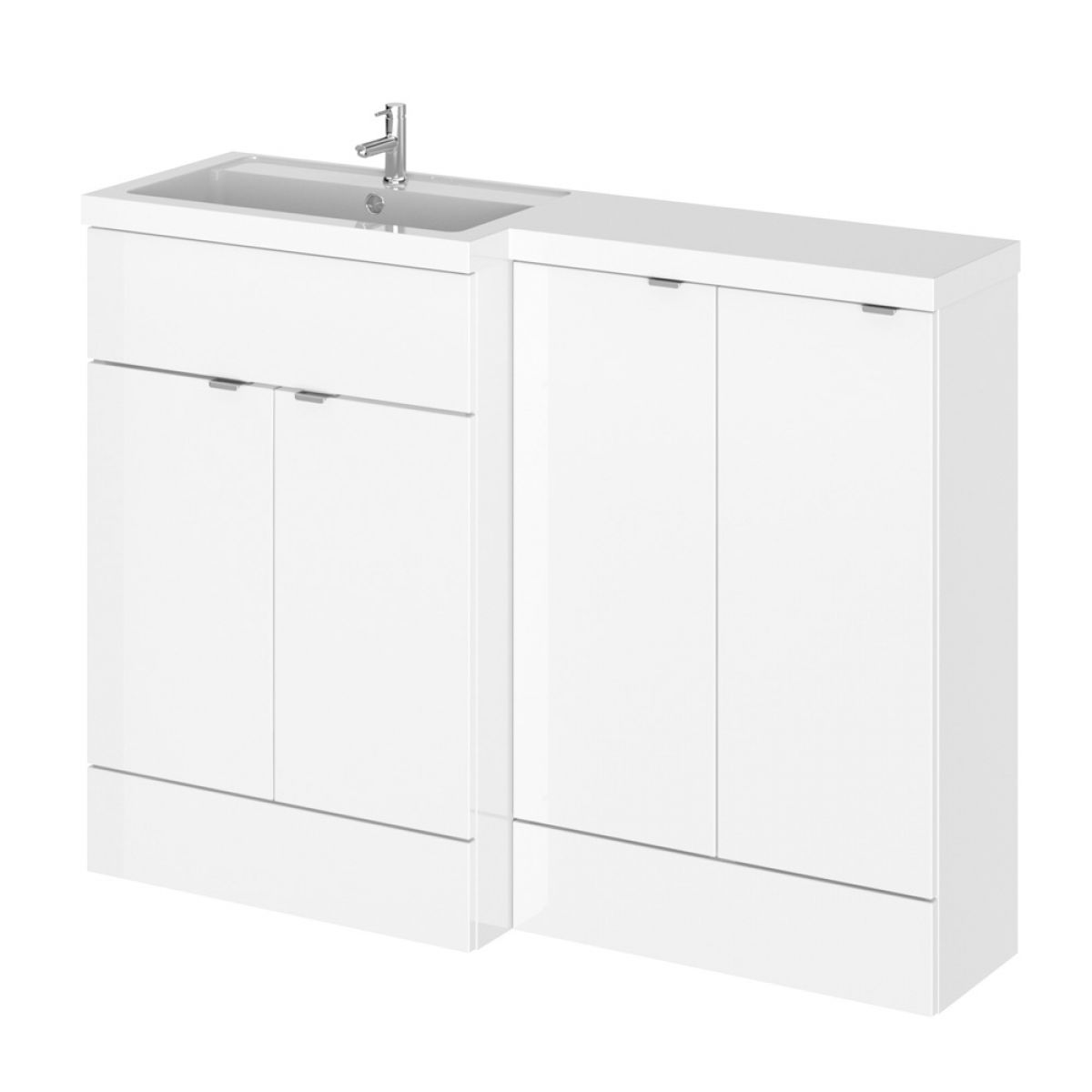 Hudson Reed Fusion Gloss White Slimline Storage Furniture Pack 1200mm