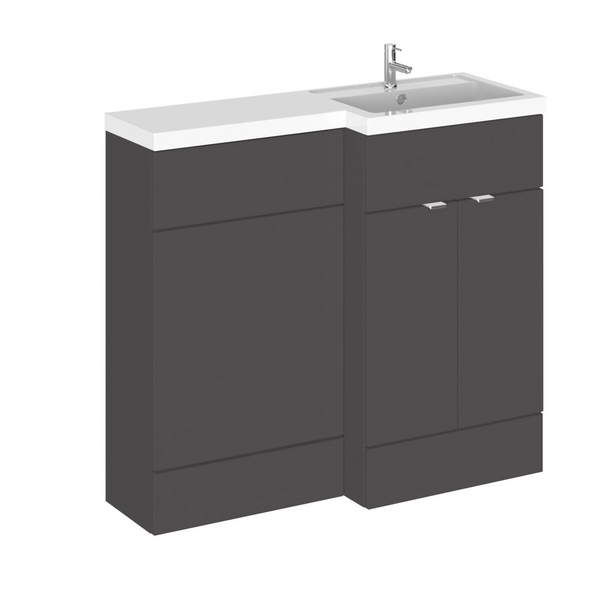 Hudson Reed Fusion Gloss Grey Full Depth Combination Furniture Pack 1000mm
