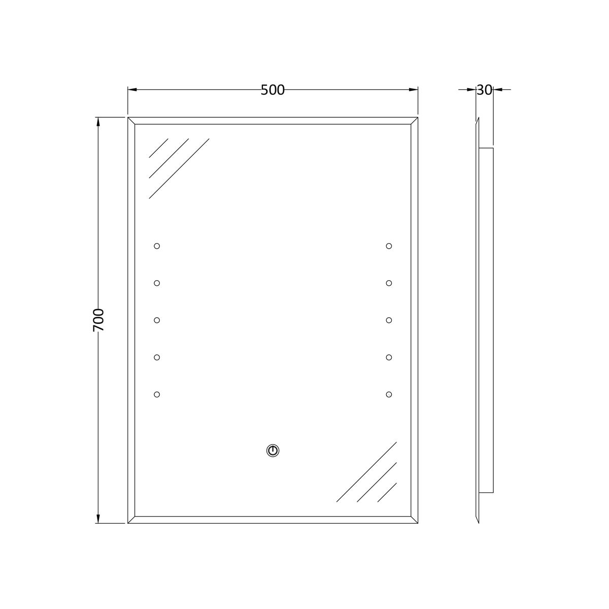 Hudson Reed Alcina LED Touch Sensor Mirror 400 x 600mm Dimensions
