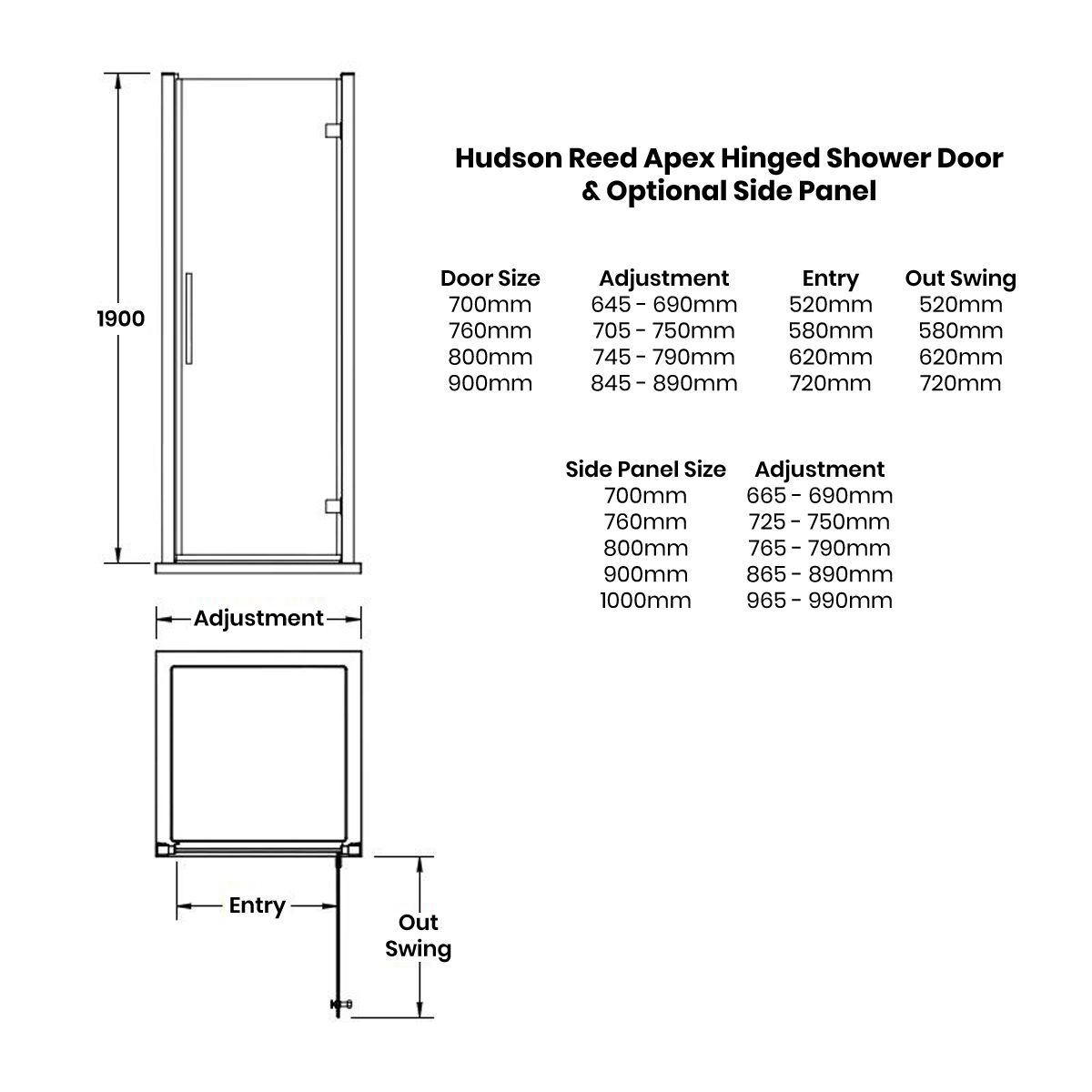 Hudson Reed Apex Hinged Shower Enclosure Dimensions