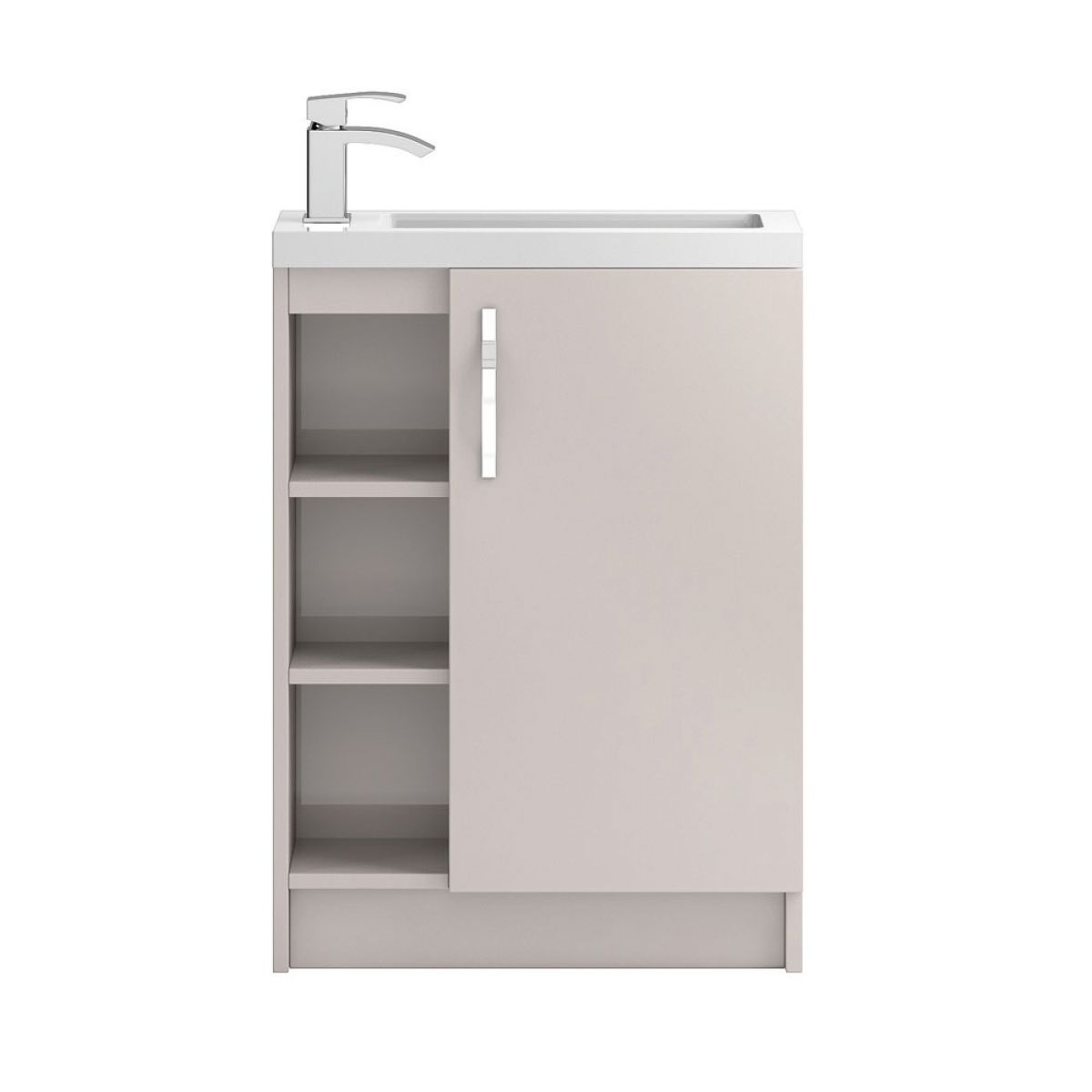 Hudson Reed Apollo Compact Gloss Cashmere Floor Standing Open Vanity Unit 600mm