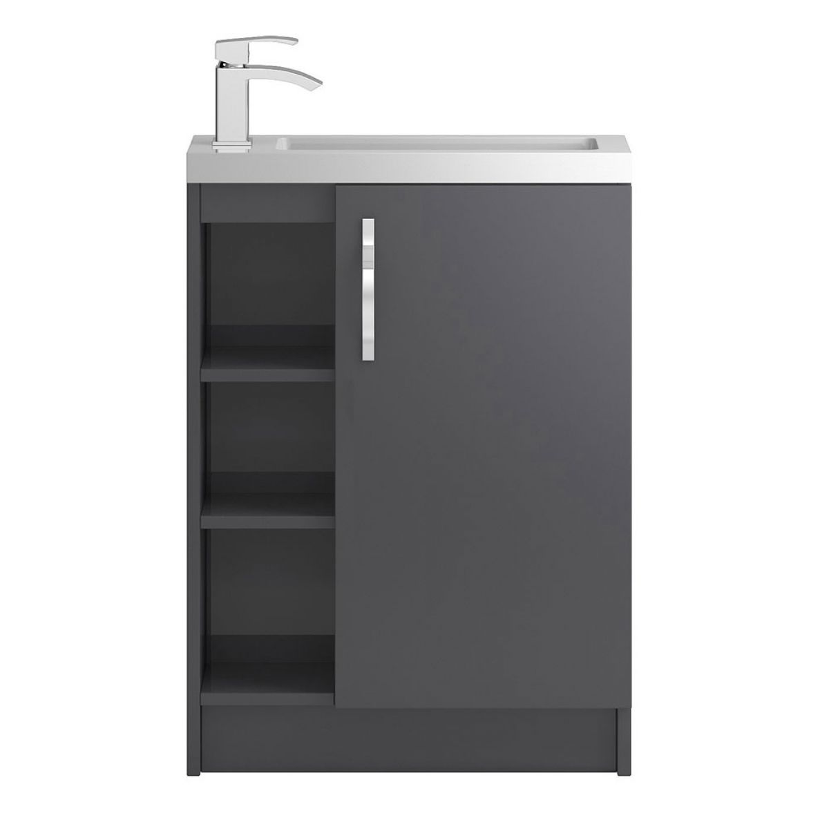 Hudson Reed Apollo Compact Gloss Grey Floor Standing Open Vanity Unit 600mm